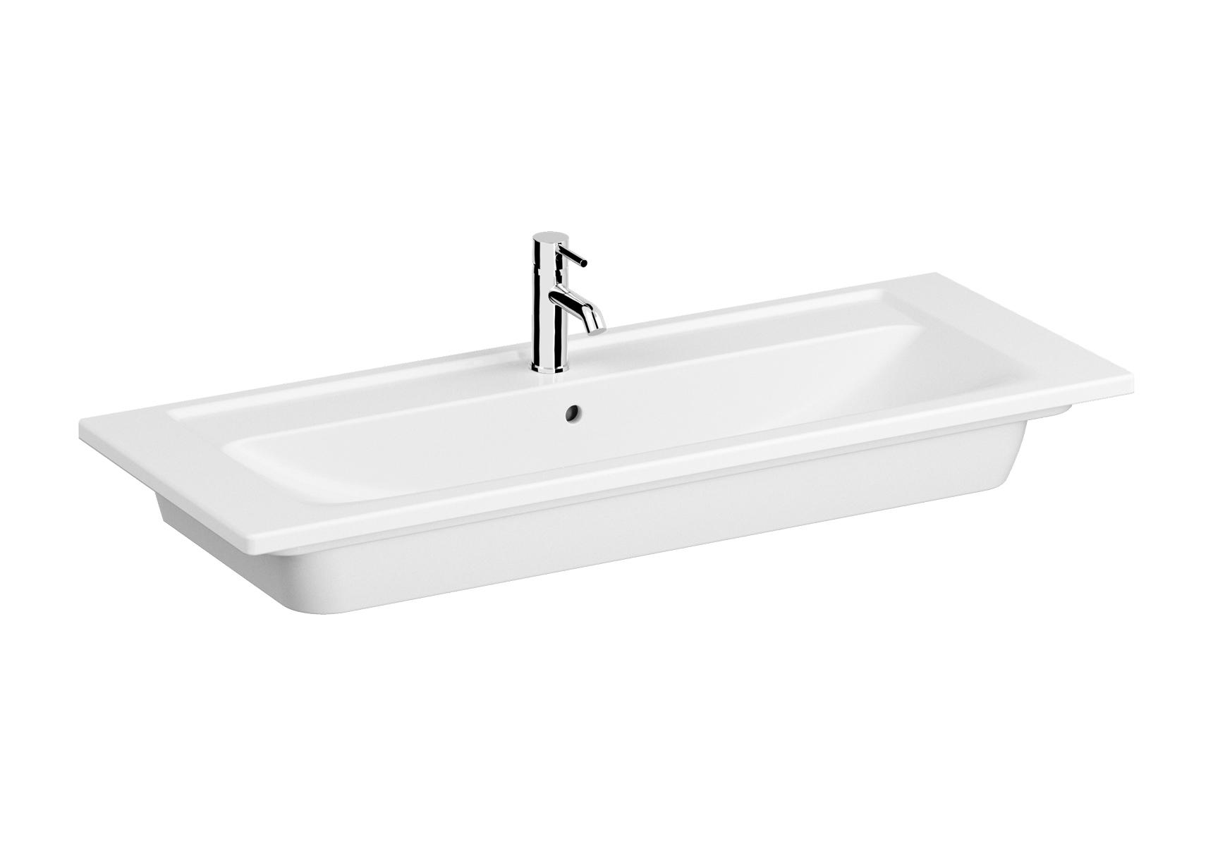 Integra plan céramique, 120 cm, avec 2 trous de robinet et 1 trop-plein