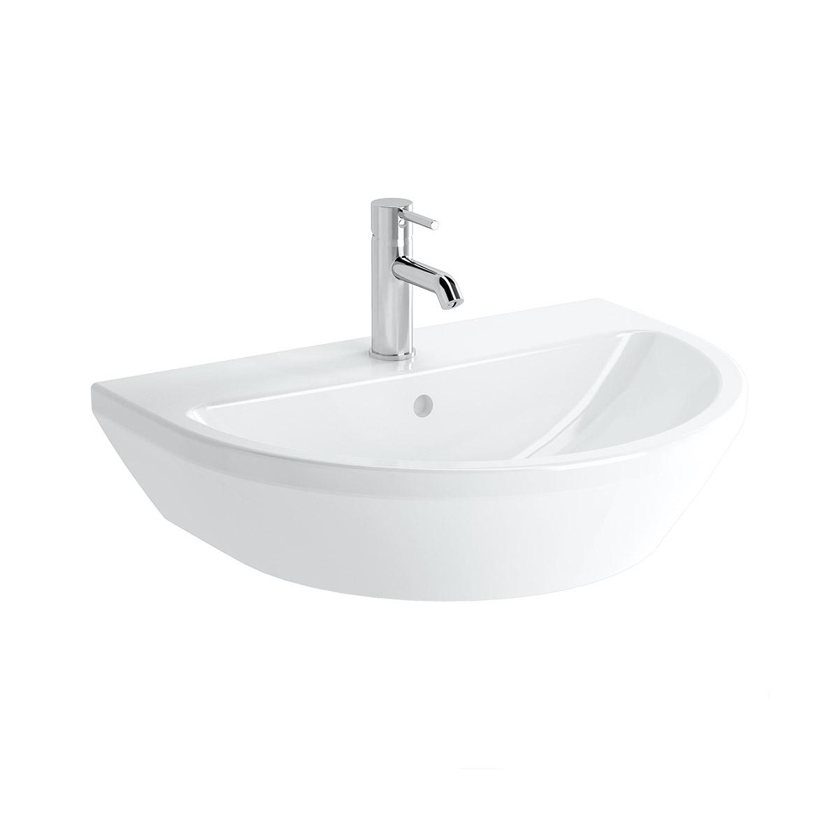 Integra Waschtisch, 55 cm, rund, mit Hahnloch, ohne Überlaufloch, Weiß, VitrA Clean