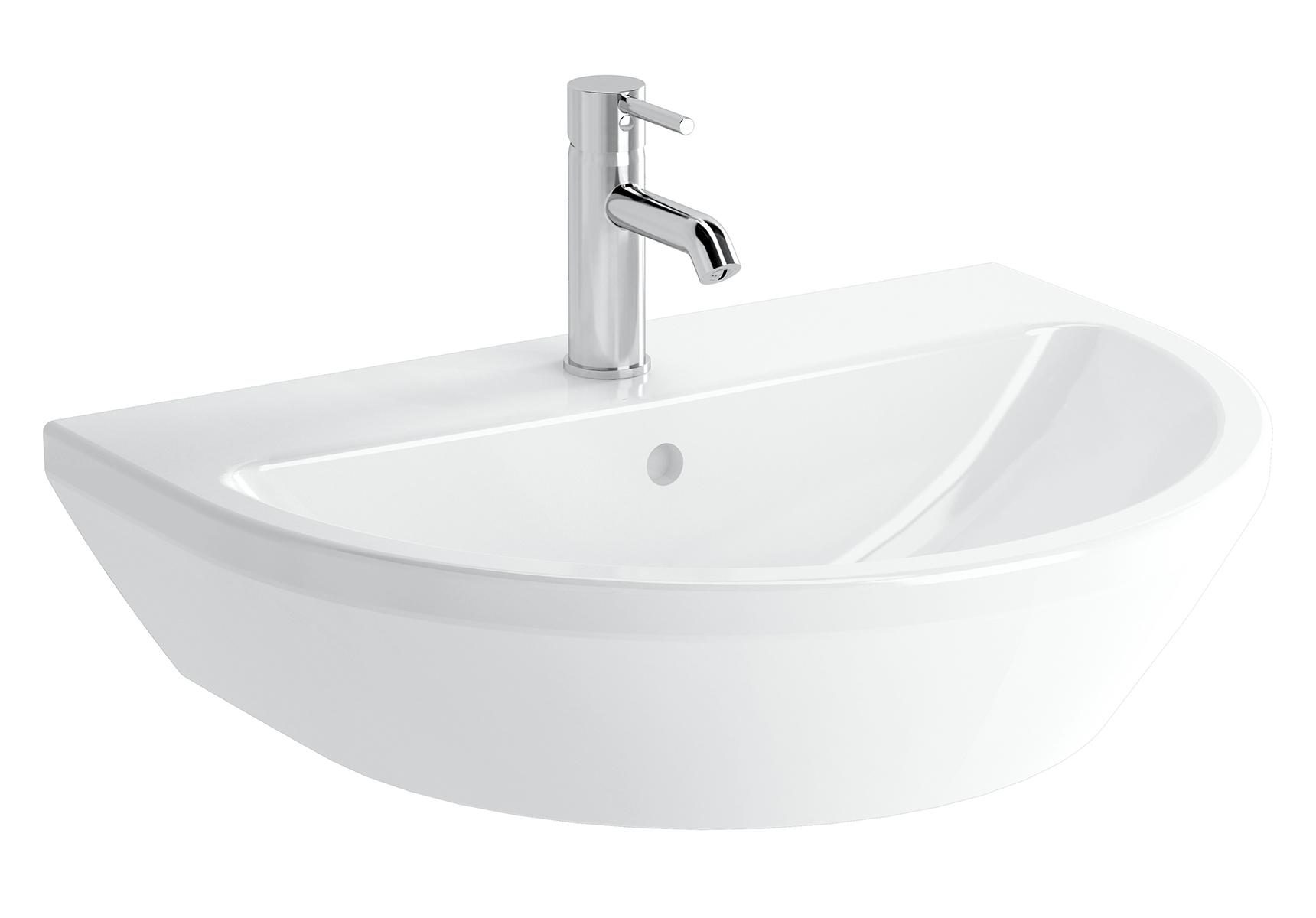 Integra lavabo rond, 65 cm, sans trou de robinet, avec trop-plein