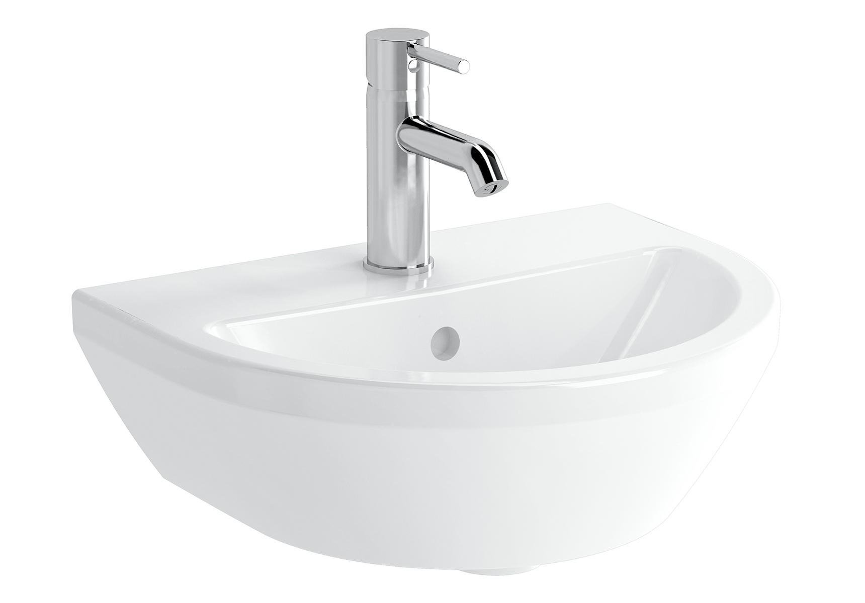 Integra lavabo rond, 45 cm, avec trou de robinet, avec trop-plein