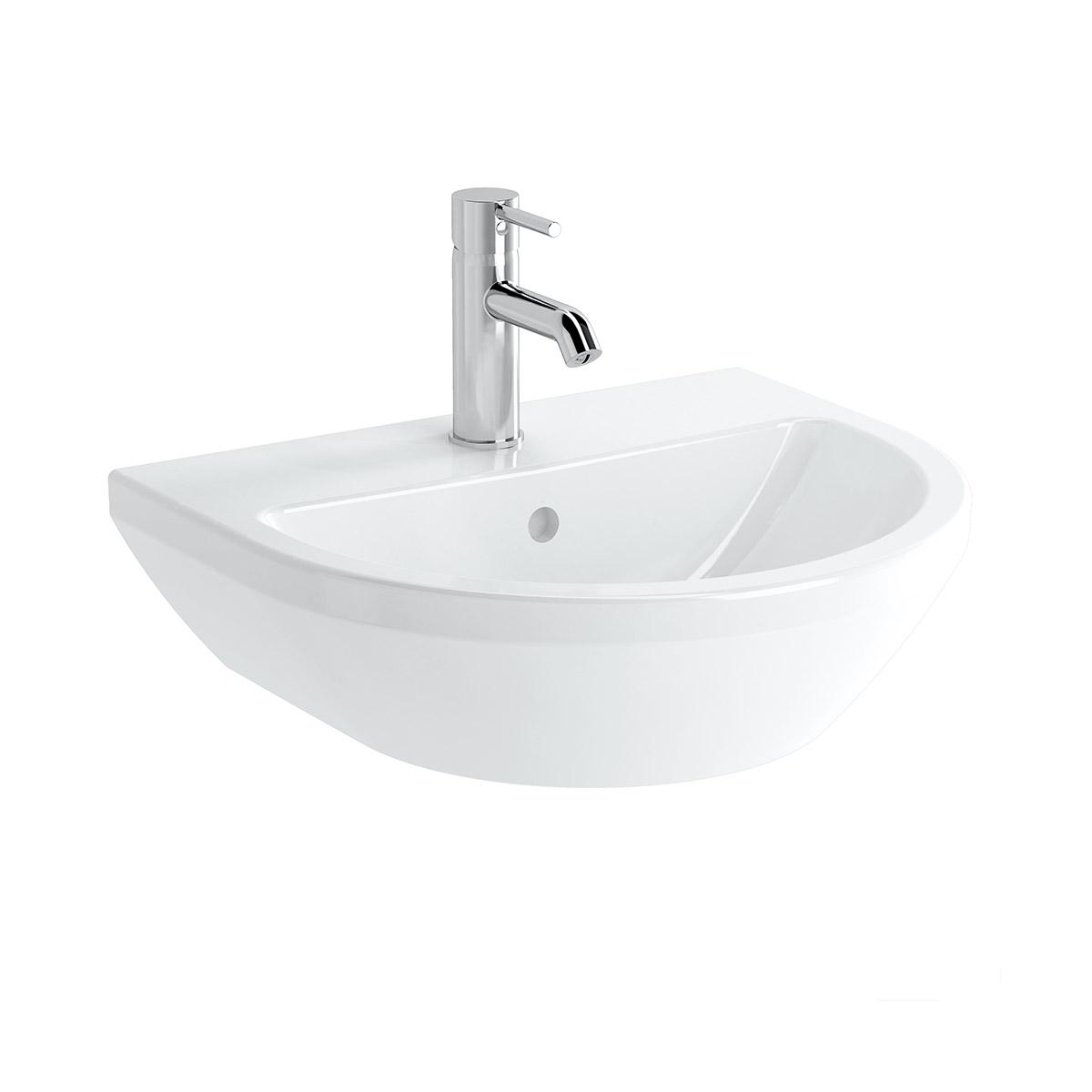 Integra Waschtisch, 50 cm, rund, mit Hahnloch, mit Überlaufloch, Weiß, VitrA Clean