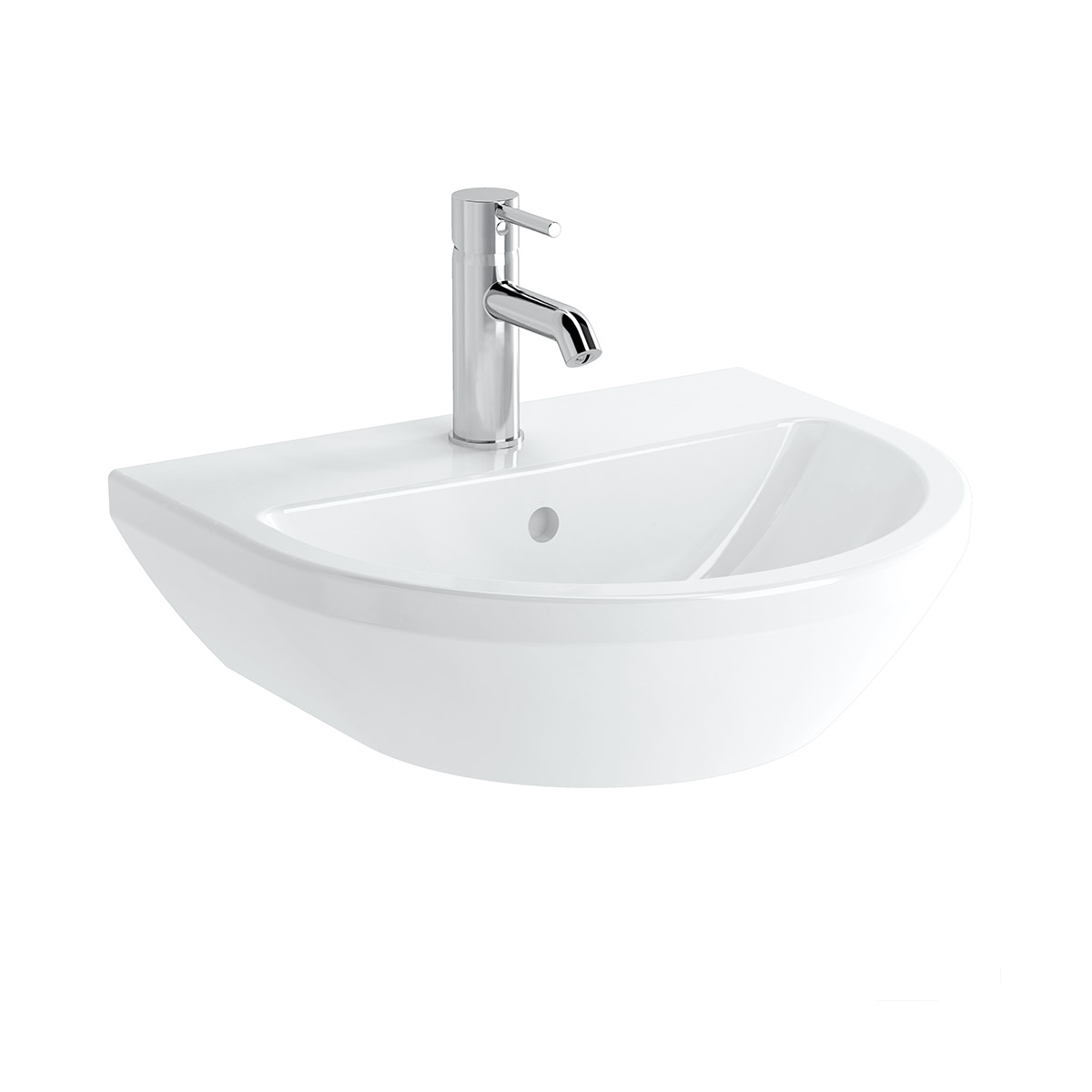 Integra Waschtisch, 50 cm, rund, ohne Hahnloch, mit Überlaufloch, Weiß, VitrA Clean
