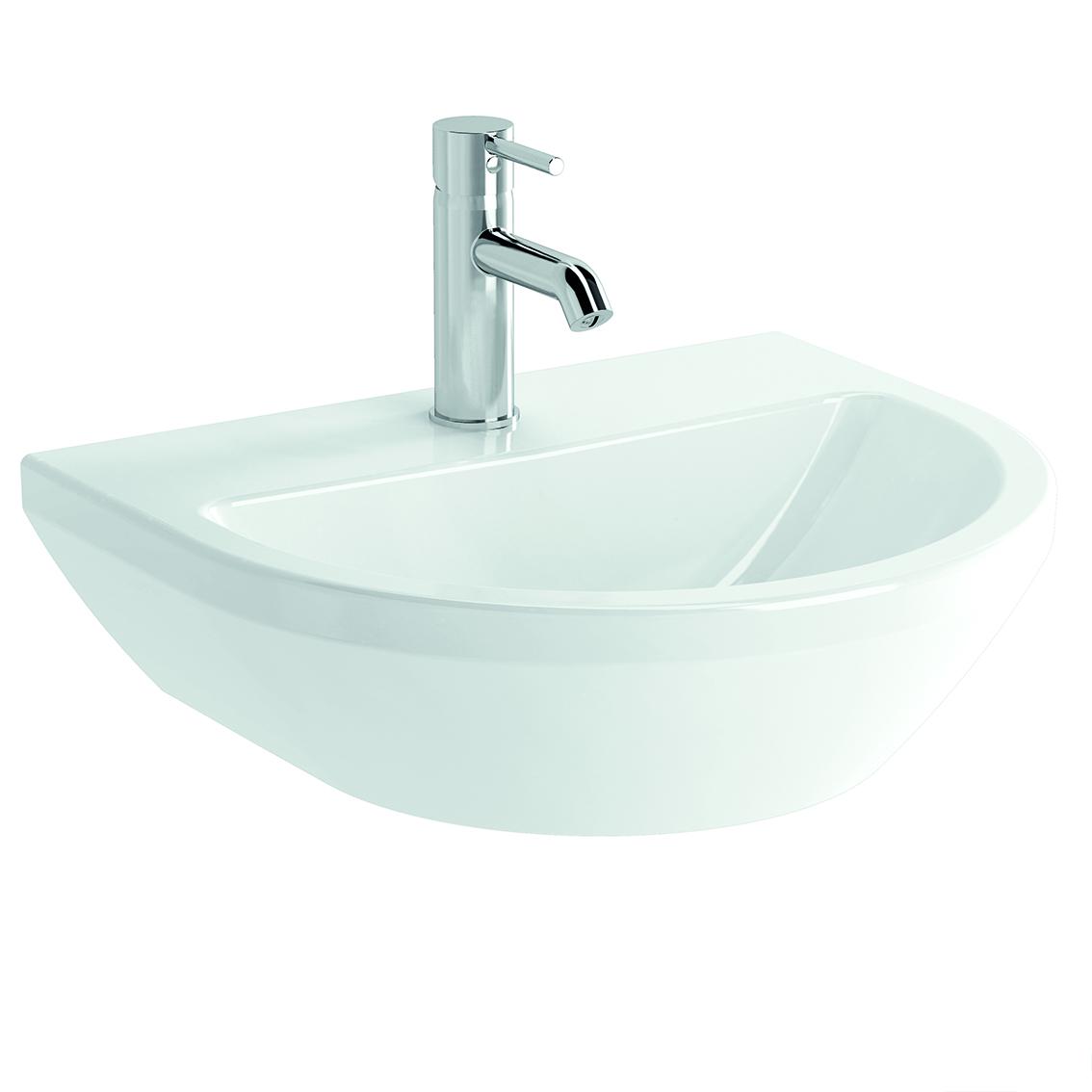 Integra Waschtisch, 50 cm, rund, mit Hahnloch, ohne Überlaufloch, Weiß, VitrA Clean