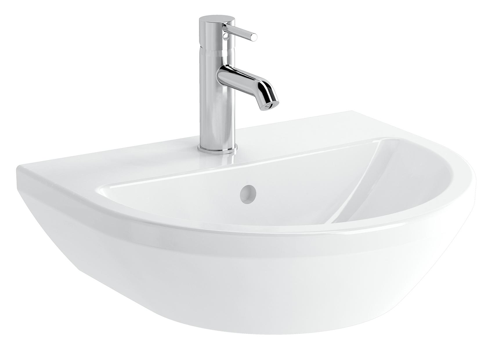 Integra lavabo rond, 50 cm, avec trou de robinet, avec trop-plein