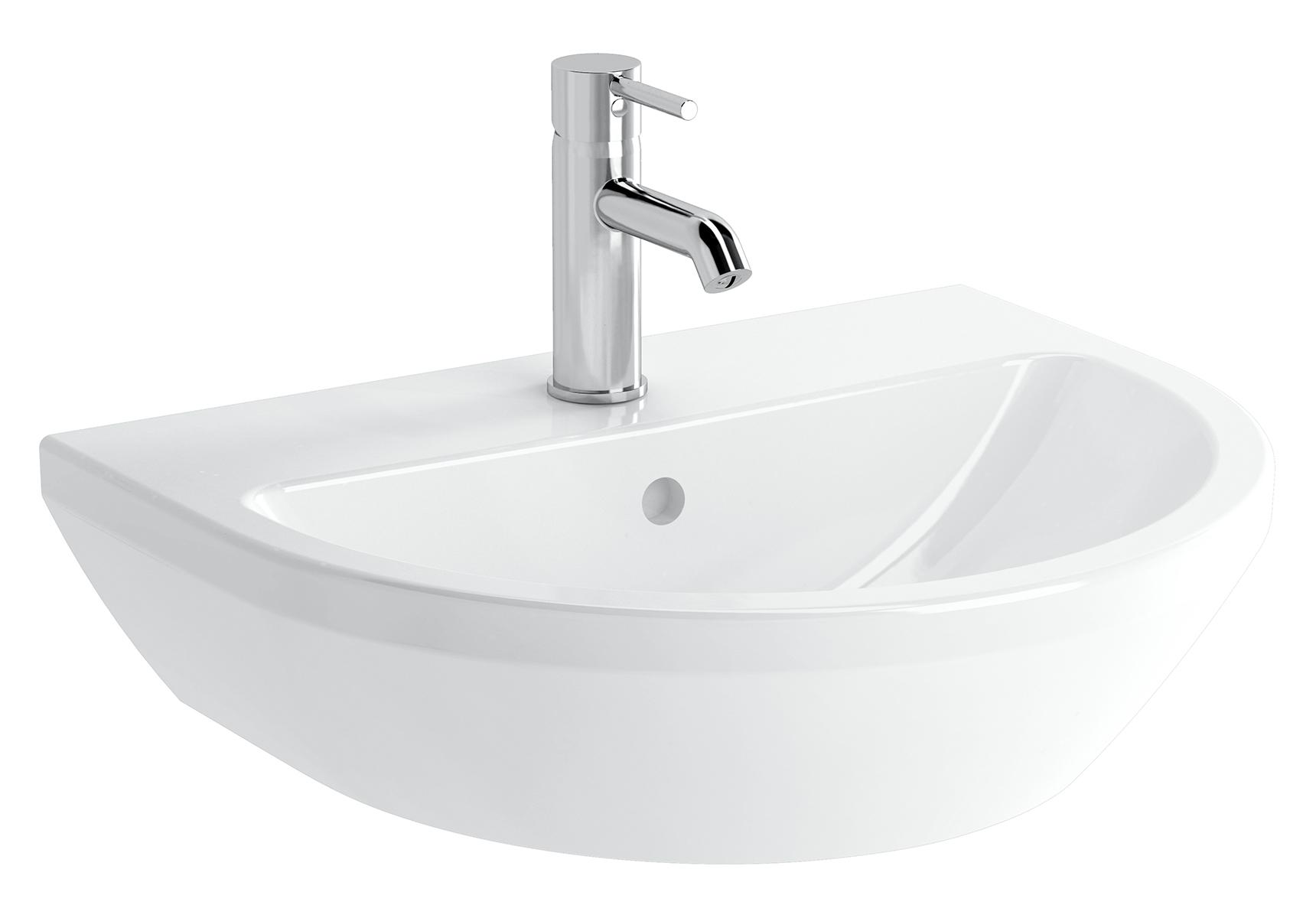 Integra lavabo rond, 55 cm, avec trou de robinet, avec trop-plein