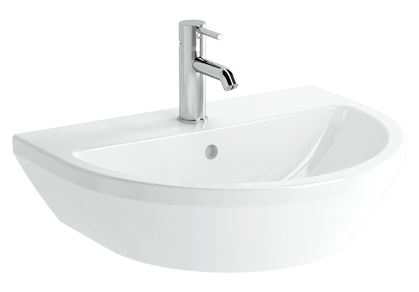 Integra lavabo rond, 60 cm, avec trou de robinet, avec trop-plein