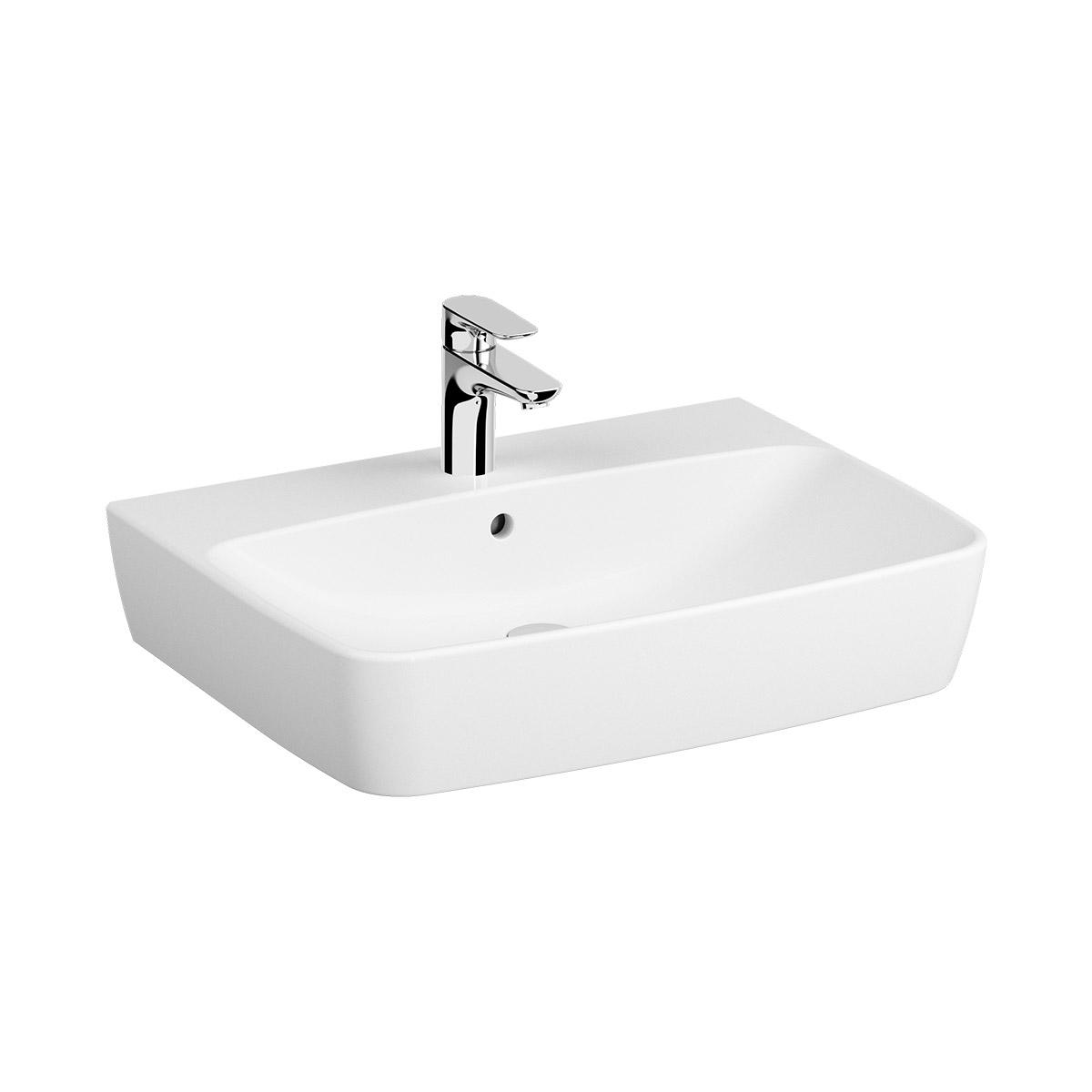 Shift Waschtisch 65 cm, mit Hahnlochbank, mit Hahnloch mittig, mit Überlaufloch, Weiß, VitrA Clean