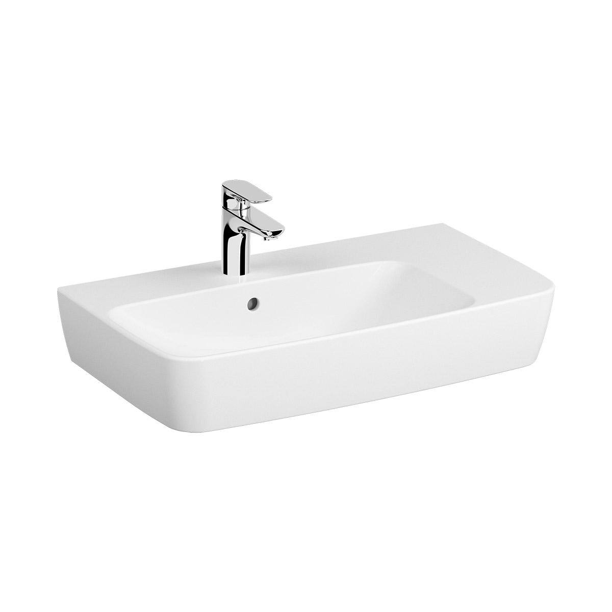Shift Waschtisch 75 cm,  asymmetrisch, mit Ablage rechts, mit Hahnlochbank, mit Hahnloch mittig (Becken), mit Überlaufloch, Weiß, VitrA Clean