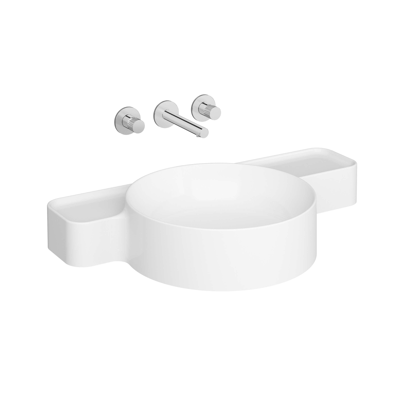 Voyage lavabo, compact, sans plage de robinetterie, 70 cm, rectifié