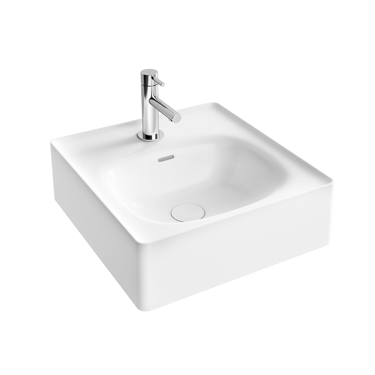 Equal Handwaschbecken, 43 cm, mit Hahnlochbank, mit Hahnloch, mit Überlaufschlitz, Weiß Hochglanz