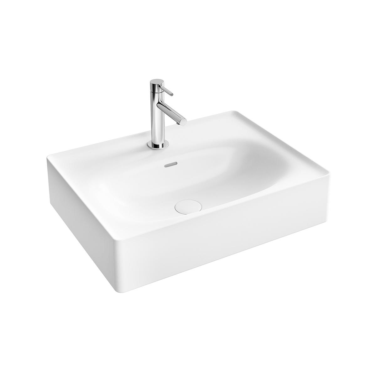 Equal Waschtisch, 60 cm, mit Hahnlochbank, mit Hahnloch, mit Überlaufschlitz, Weiß Hochglanz