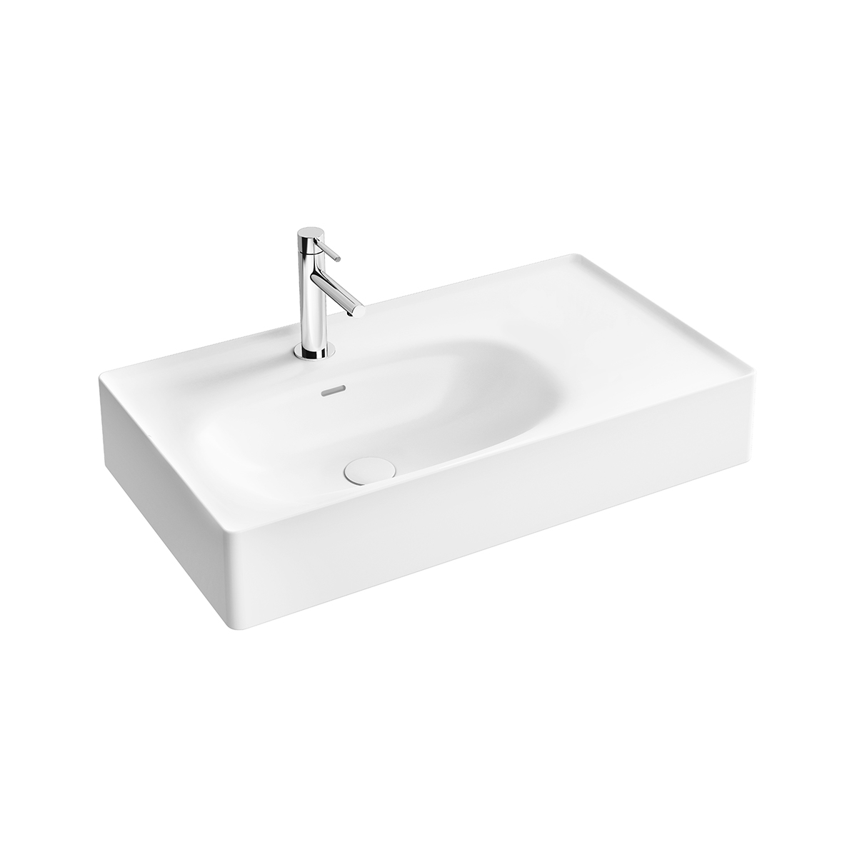 Equal Waschtisch, 80 cm, asymmetrisch, mit Hahnlochbank, mit Hahnloch, mit Überlaufschlitz, Weiß Hochglanz