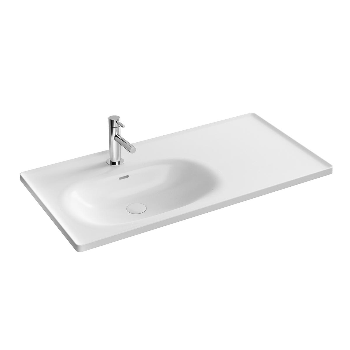 Equal Möbelwaschtisch, 100 cm, asymmetrisch mit Hahnloch,bank Hahnloch, mit Überlaufschlitz, Weiß Hochglanz