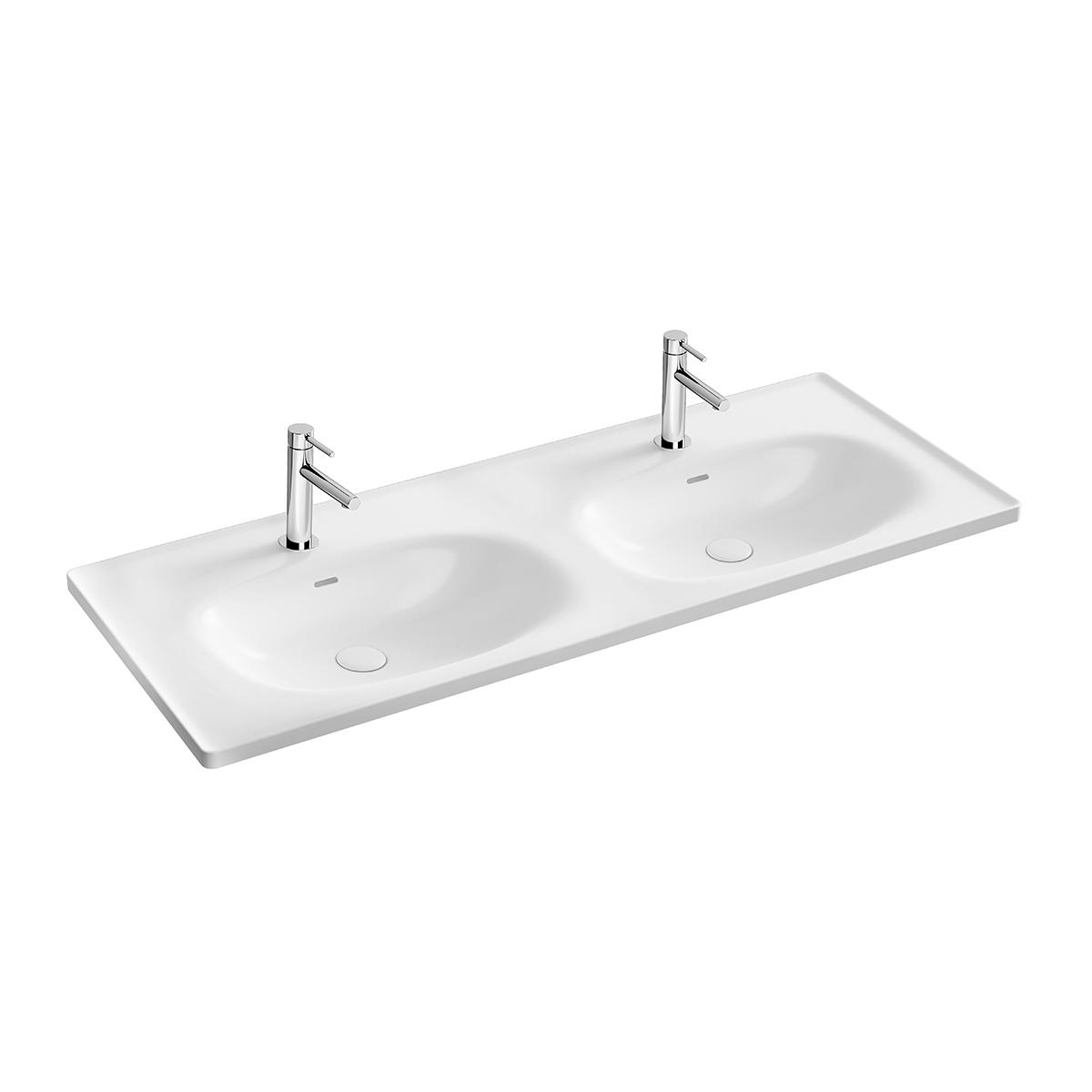 Equal Doppelmöbelwaschtisch, 130 cm, 2 Becken mit Hahnloch,bank mit Hahnloch, mit Überlaufschlitz, Weiß Hochglanz