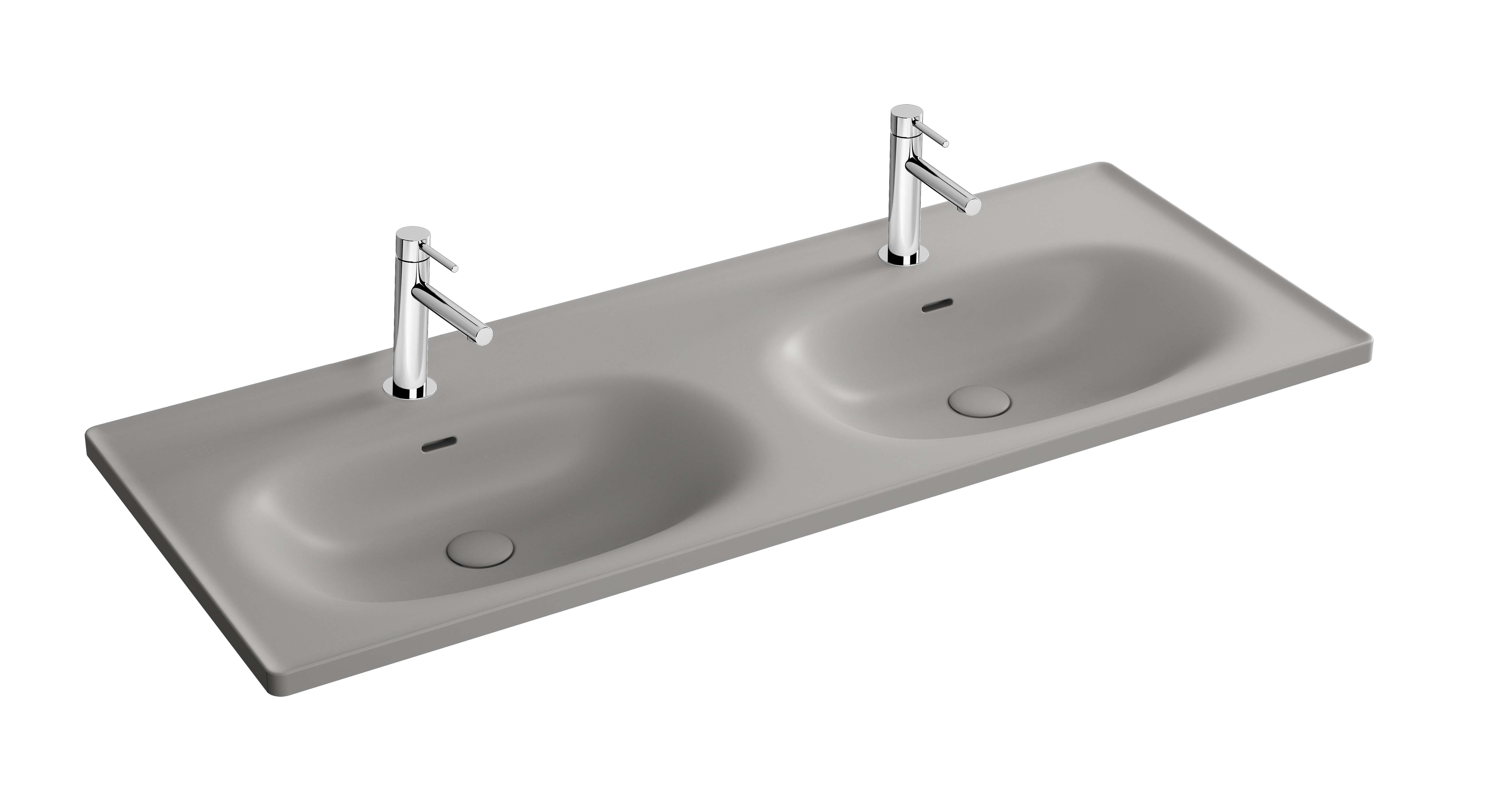 Equal plan céramique, lavabo double, 130 cm, gris pierre mat