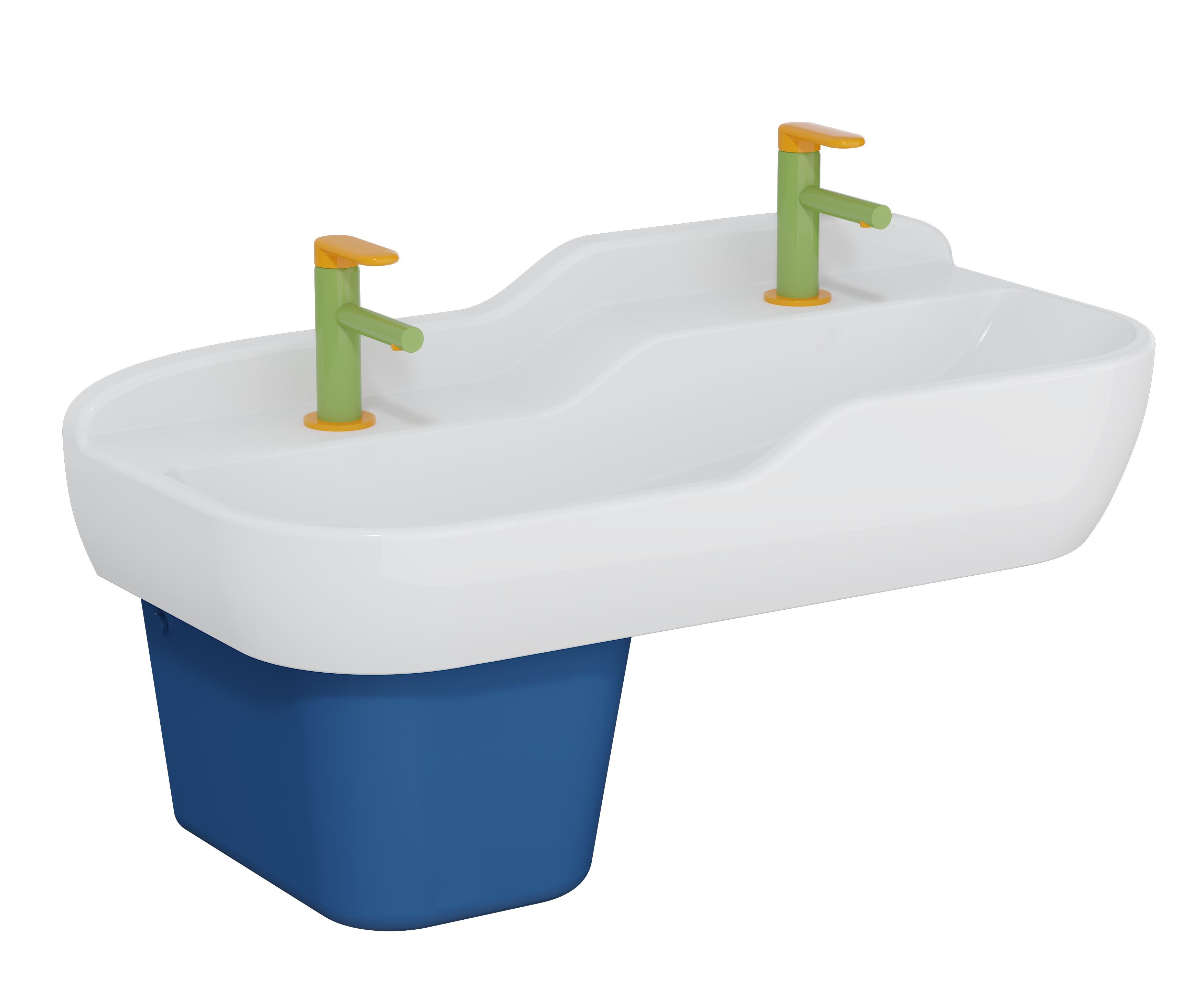 Sento Kids lavabo double, 85 cm, 2 hauteurs, sans trop-plein, blanc