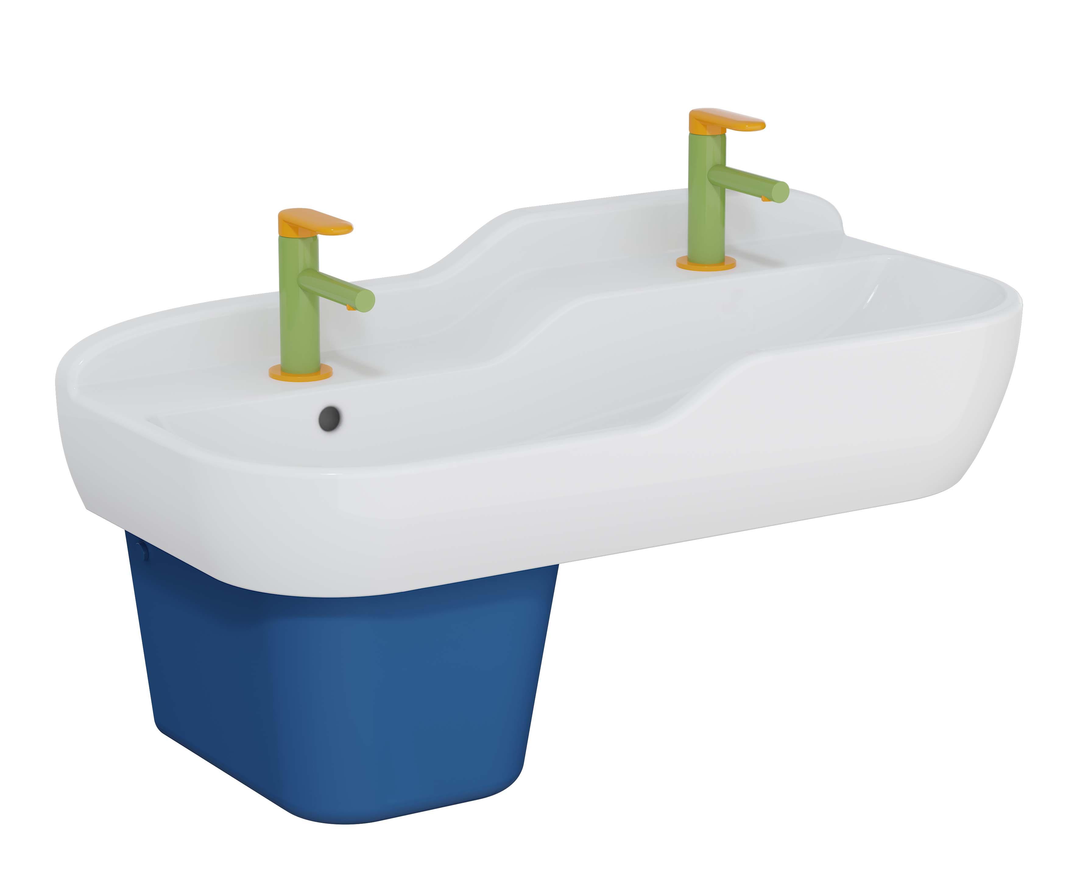 Sento Kids lavabo double, 85 cm, 2 hauteurs, avec trop-plein, blanc