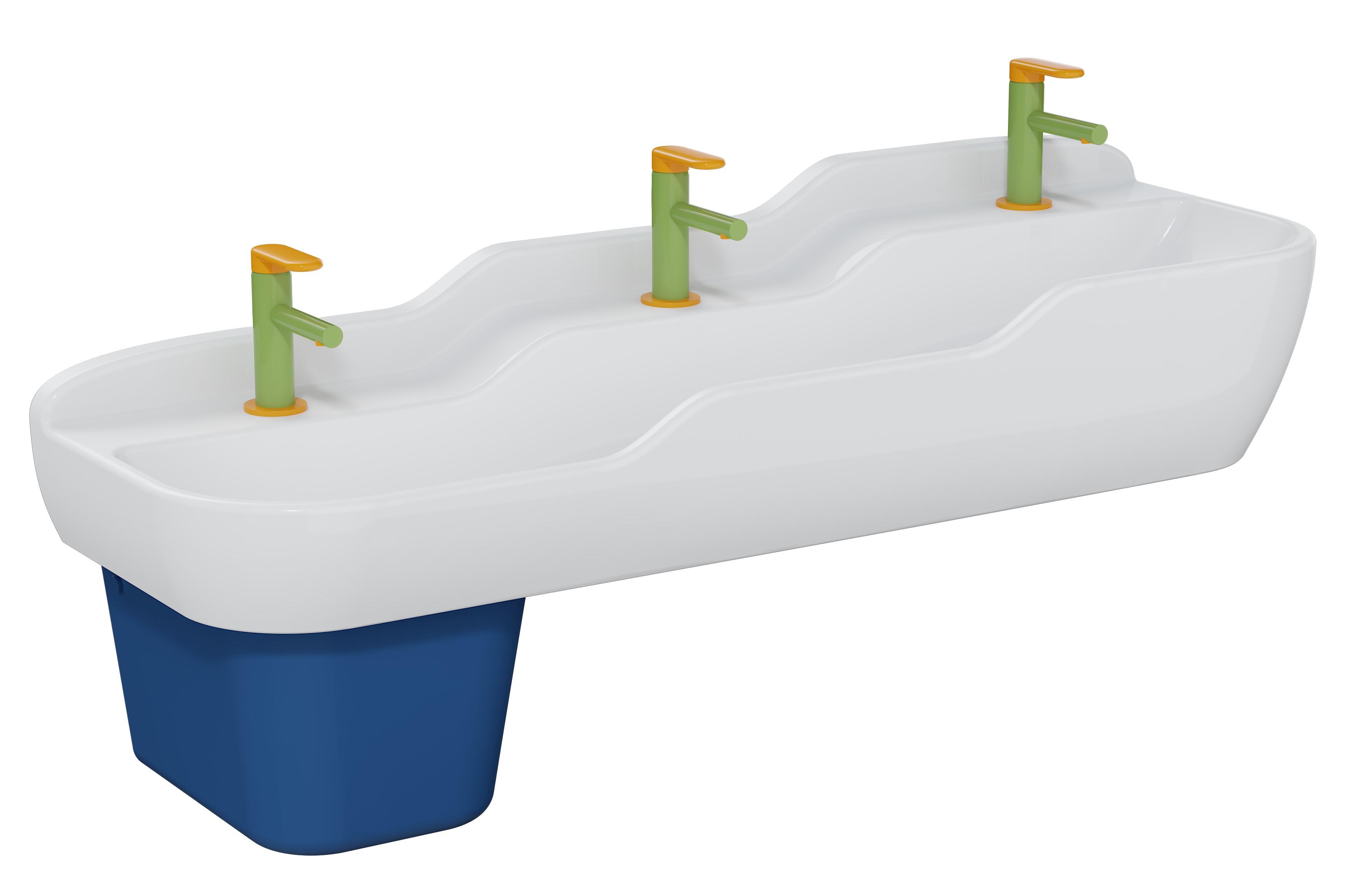 Sento Kids lavabo triple, 125 cm, 3 hauteurs, sans trop-plein, blanc