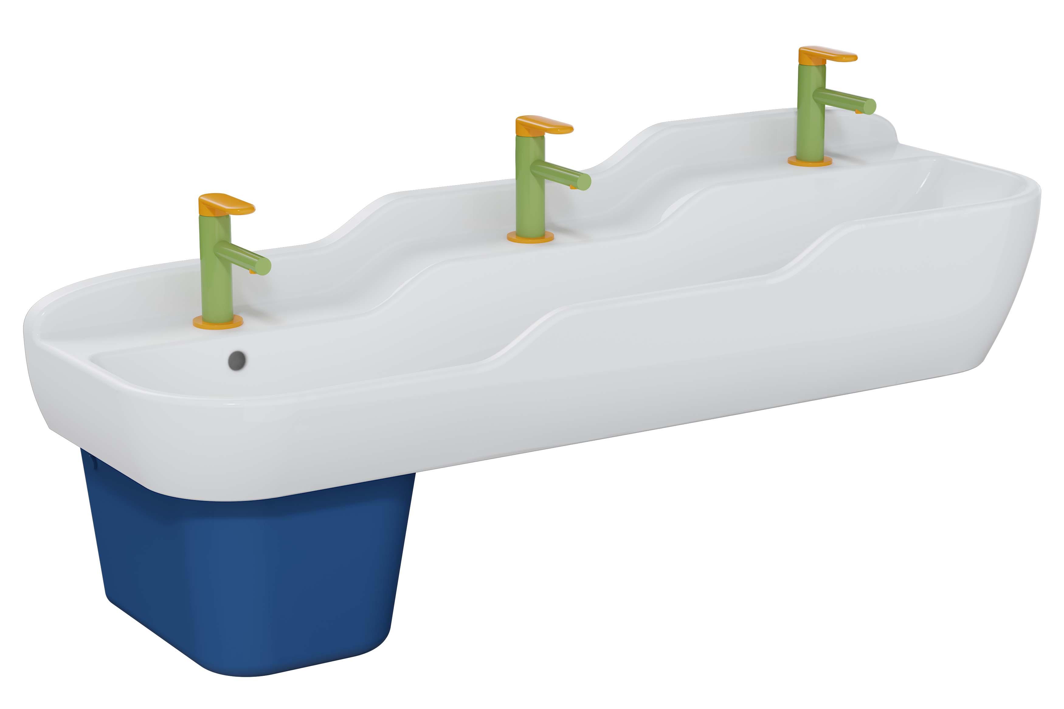 Sento Kids lavabo triple, 125 cm, 3 hauteurs, avec trop-plein, blanc