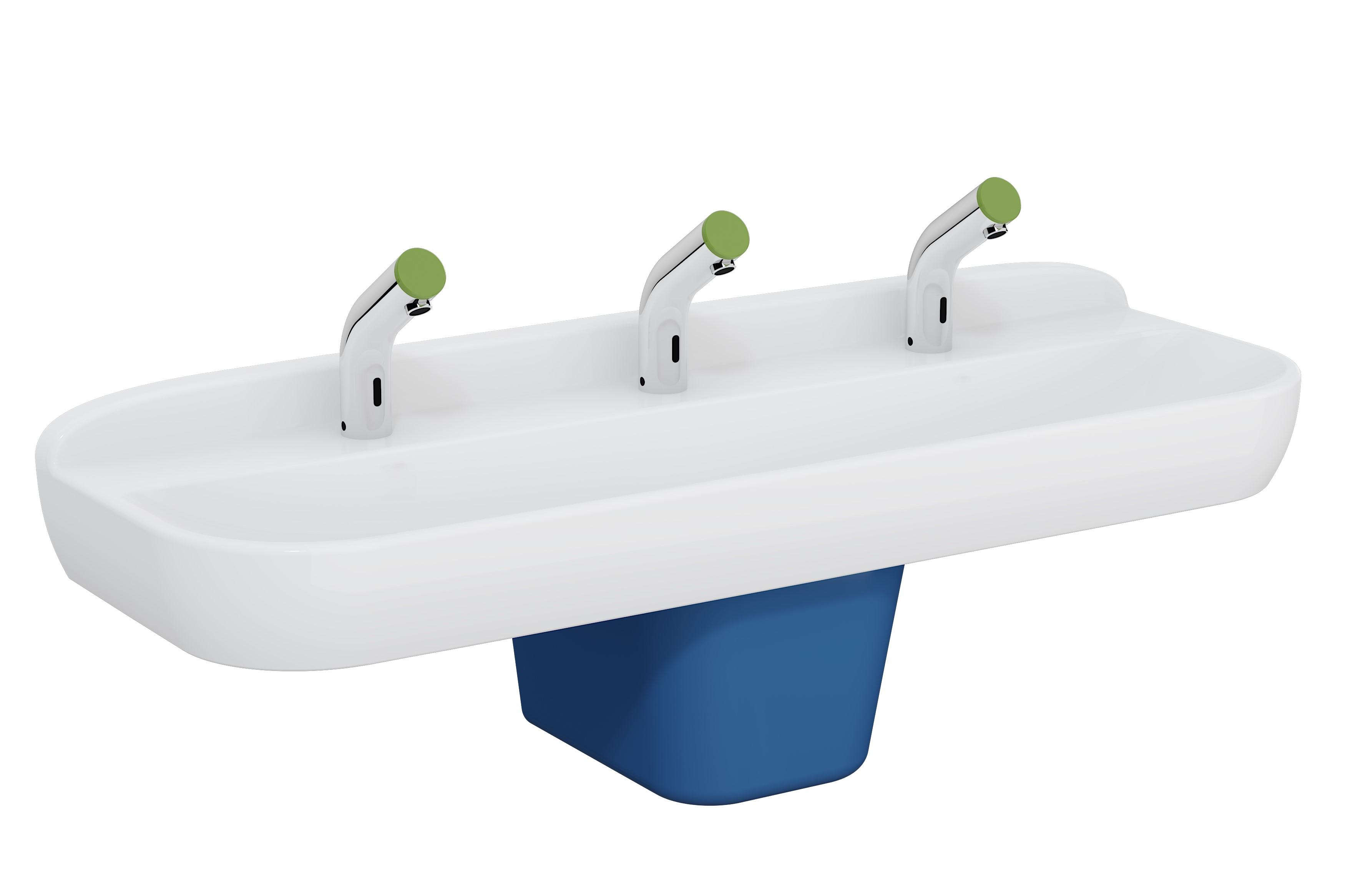 Sento Kids lavabo triple, 125 cm, 1 hauteur, sans trop-plein, blanc