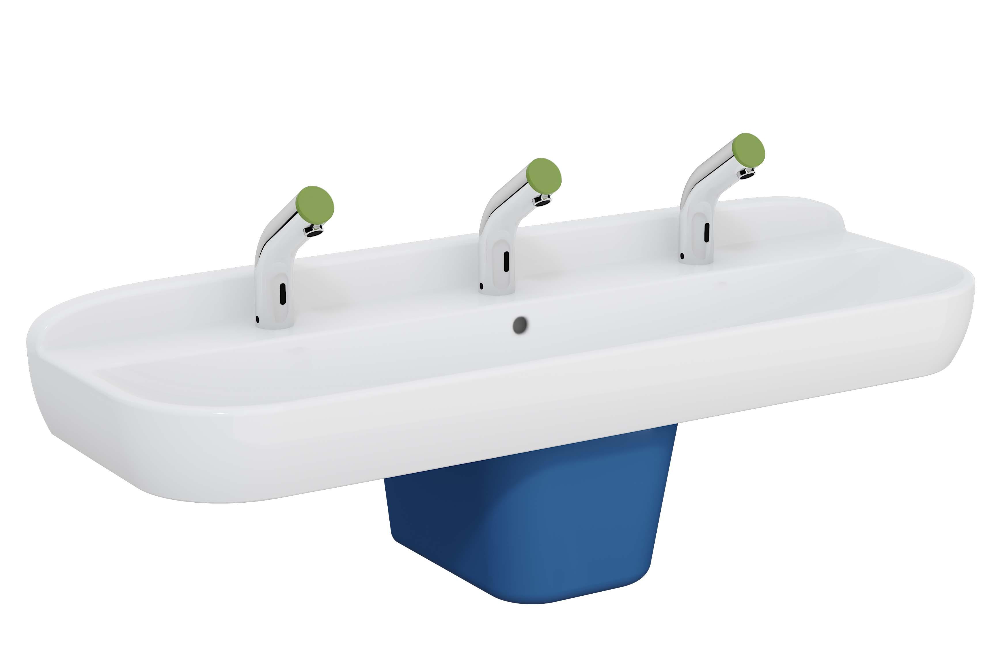 Sento Kids lavabo triple, 125 cm, 1 hauteur, avec trop-plein, blanc