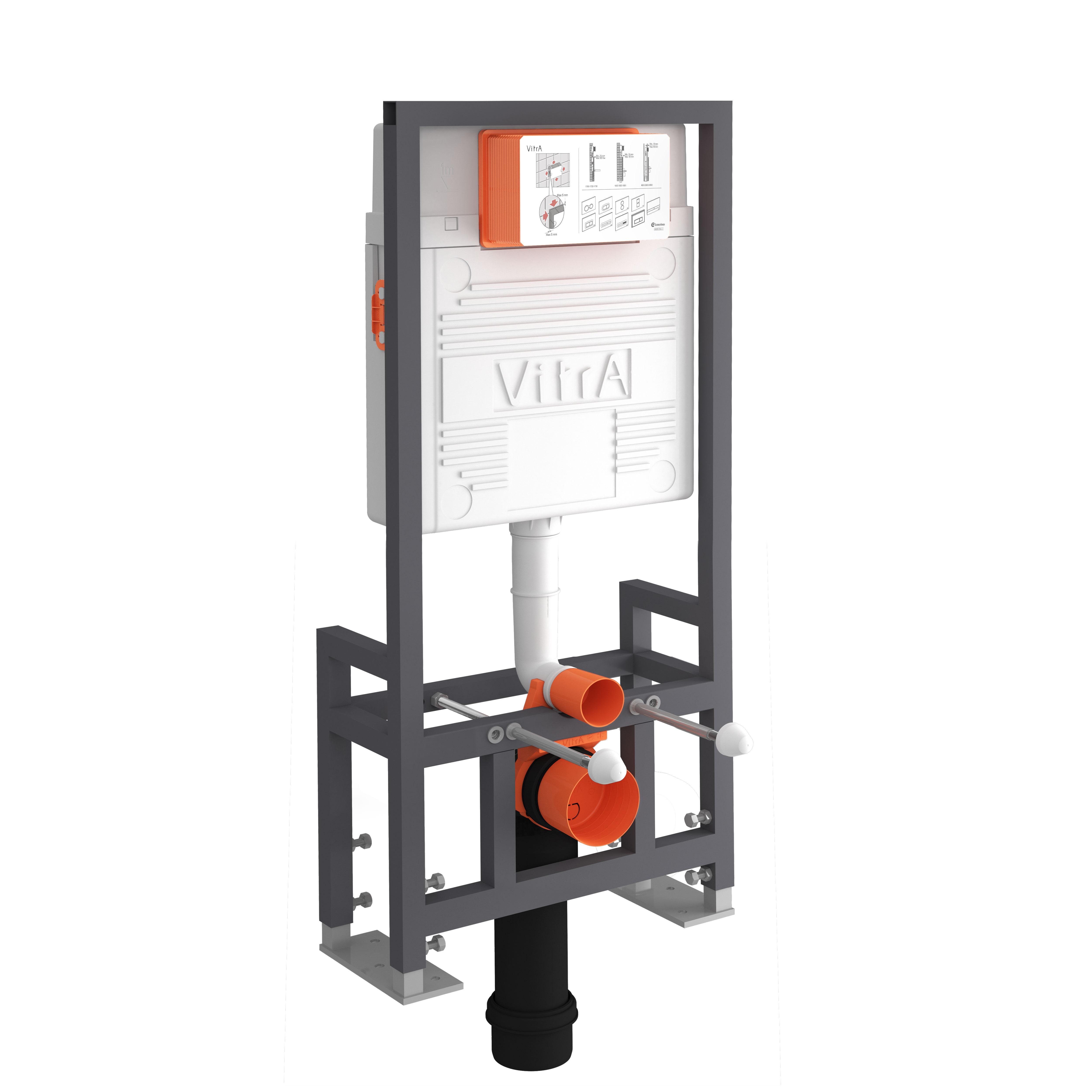 Bâti-support autoportant, 49 cm, mécanisme pour déclenchement 2 vol. d'eau(3/6 l)