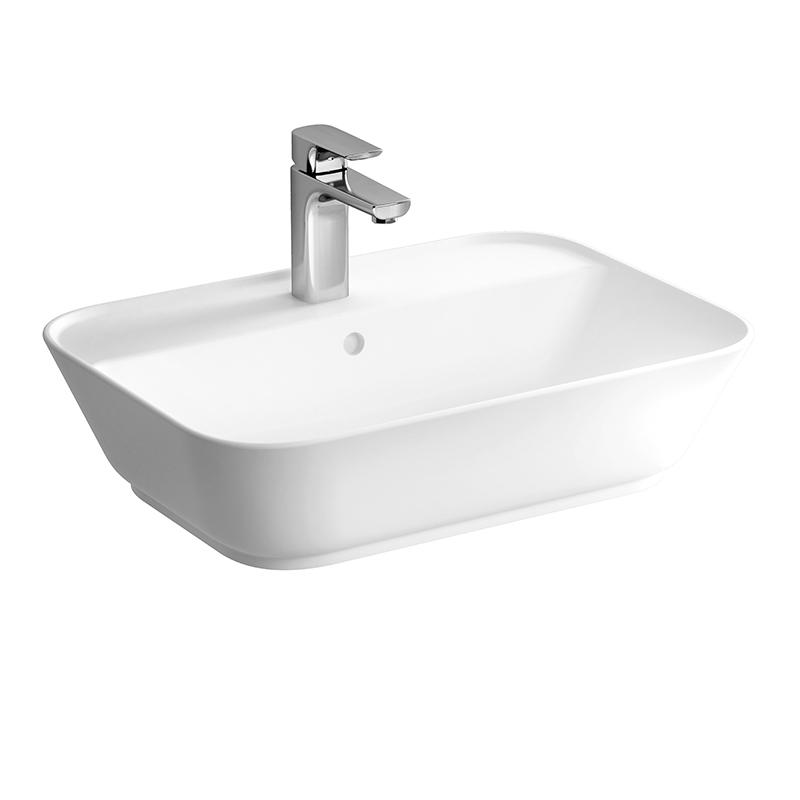 Geo Aufsatzwaschtisch 60 cm, mit Hahnloch, mittig mit Überlaufloch, Weiß, mit Oberflächenveredelung VitrA Clean