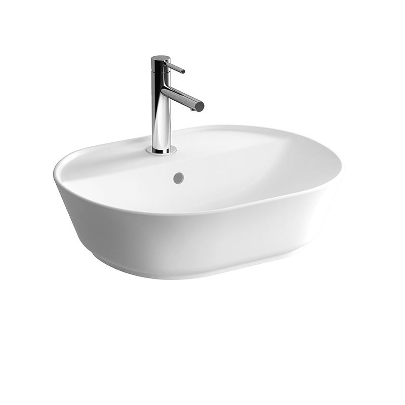 Geo Aufsatzwaschtisch 55 cm, mit Hahnloch, mittig mit Überlaufloch, Weiß, mit Oberflächenveredelung VitrA Clean