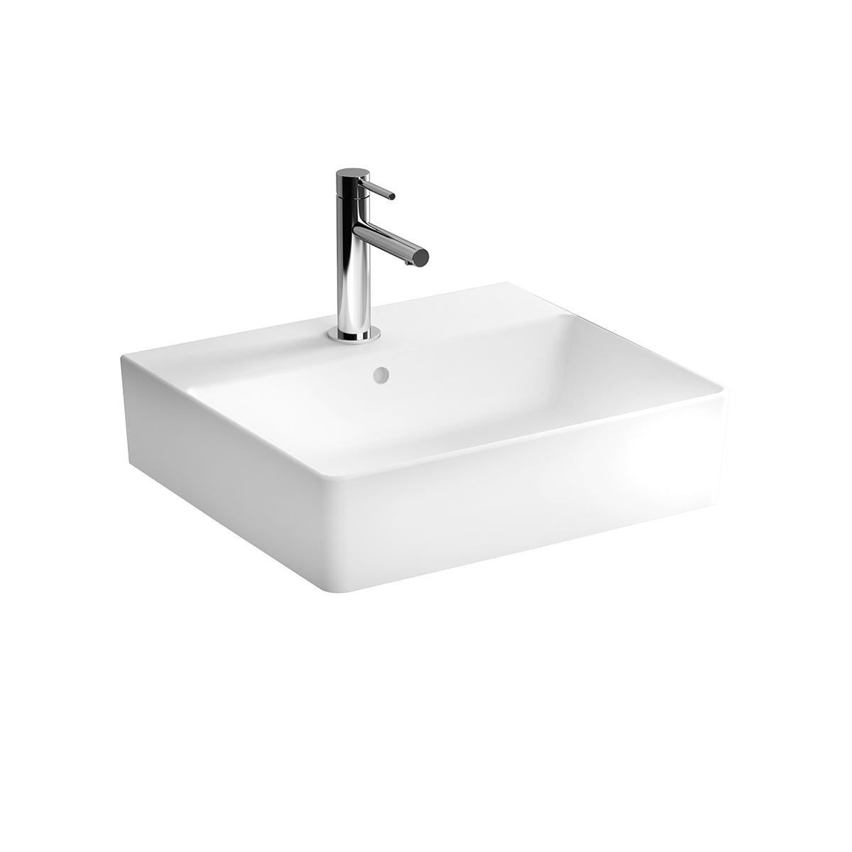 Nuo Waschtisch 50 cm, mit Hahnloch, mittig ohne Überlaufloch, Weiß