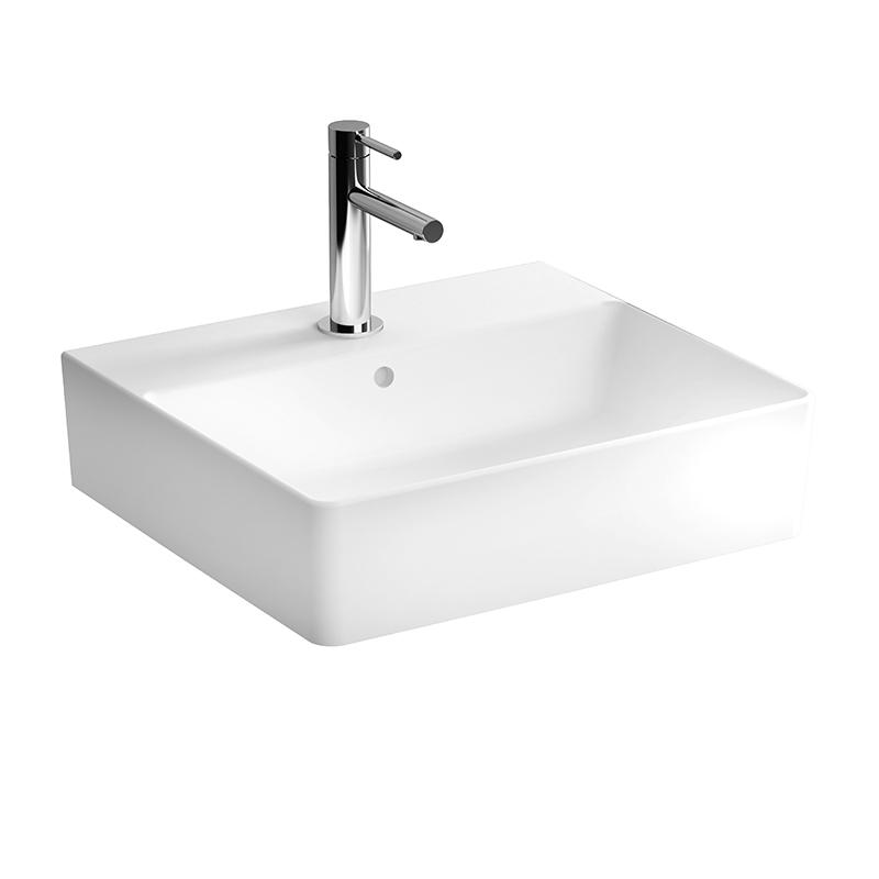 Nuo Waschtisch 50 cm, mit Hahnloch, mittig mit Überlaufloch, Weiß, mit Oberflächenveredelung VitrA Clean