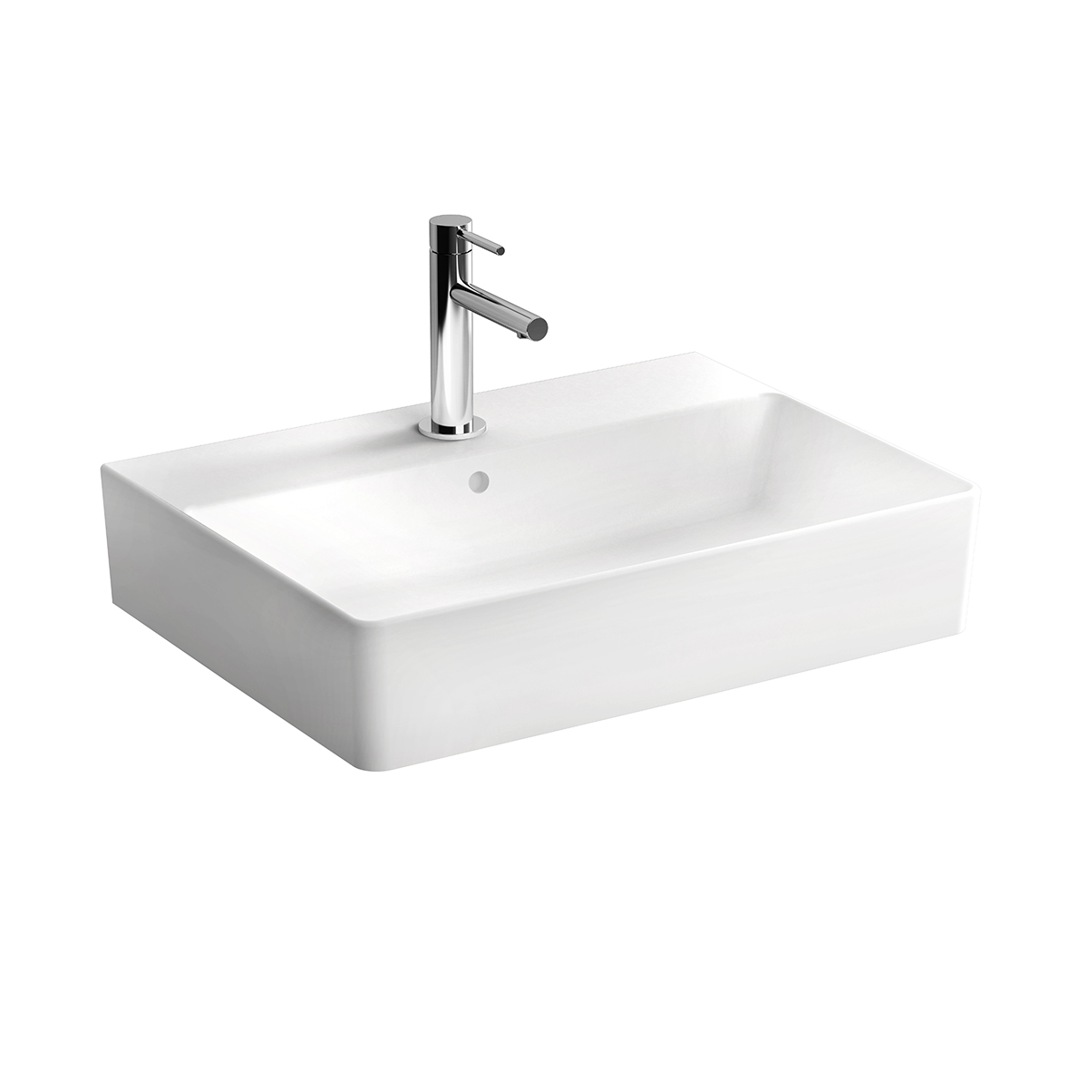 Nuo Waschtisch 60 cm, mit Hahnloch, mittig mit Überlaufloch, Weiß