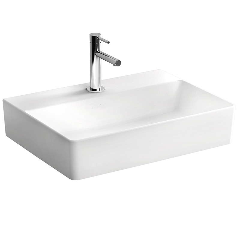 Nuo Waschtisch 60 cm, mit Hahnloch, mittig ohne Überlaufloch, Weiß, mit Oberflächenveredelung VitrA Clean