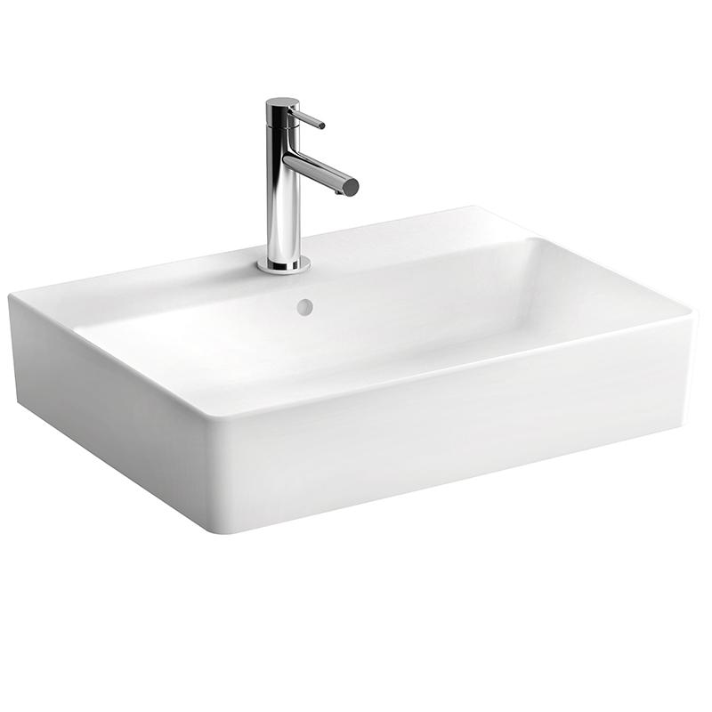 Nuo Aufsatzwaschtisch 60 cm, mit Hahnloch, mittig mit Überlaufloch, Weiß, mit Oberflächenveredelung VitrA Clean