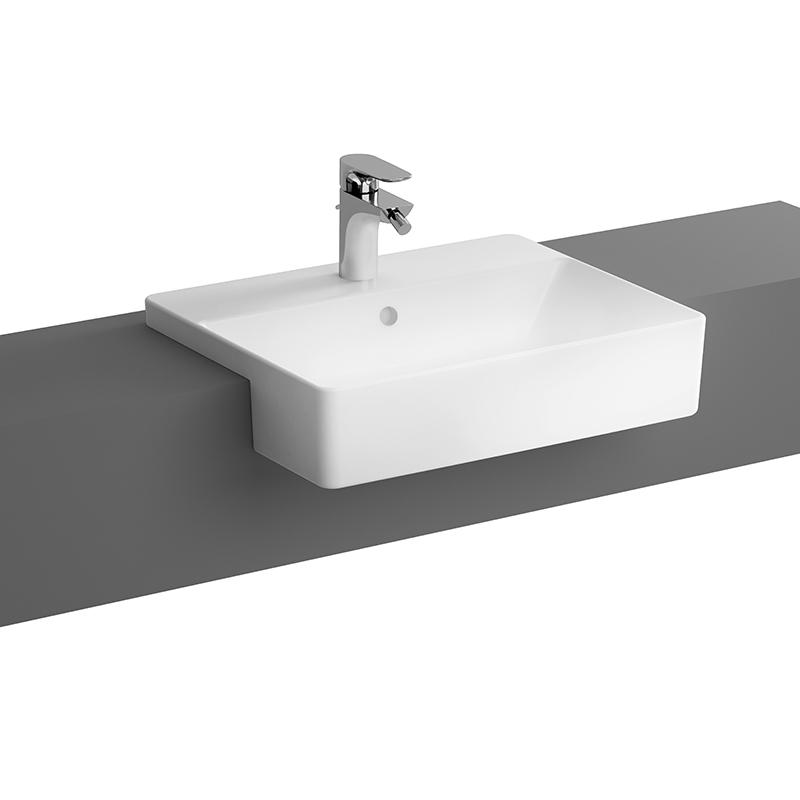 Nuo Halbeinbauwaschtisch 55 cm, mit Hahnloch, mittig mit Überlaufloch, Weiß, mit Oberflächenveredelung VitrA Clean