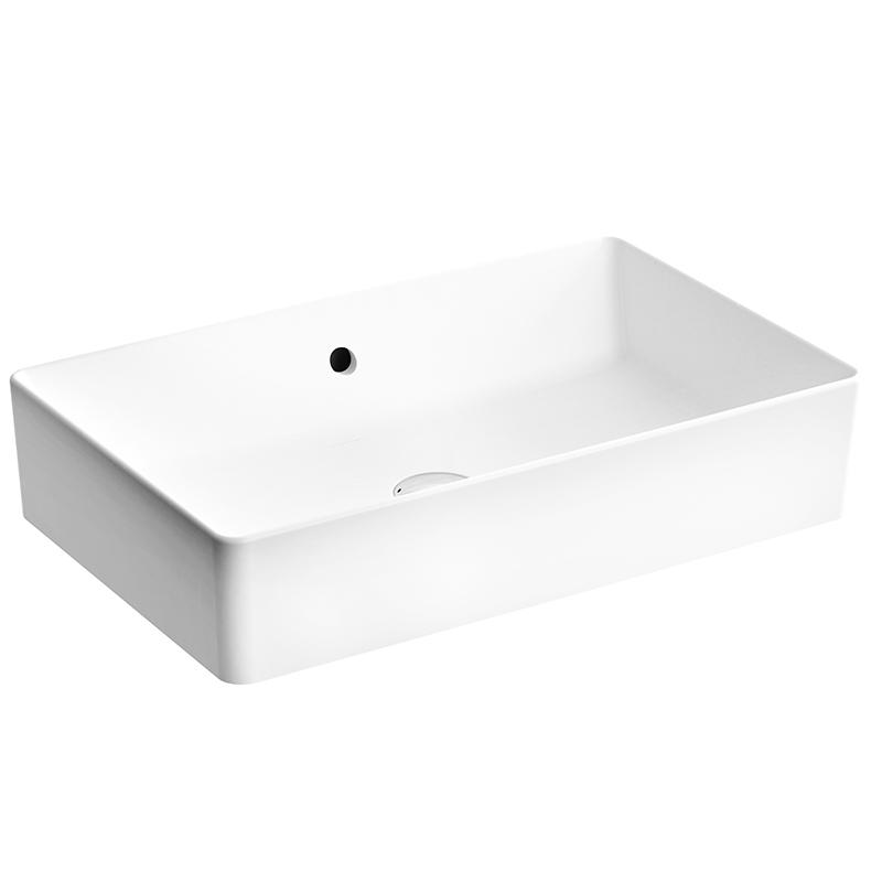 Nuo Aufsatzschale 60 cm, ohne Hahnloch, mit Überlaufloch, mittig, Weiß, mit Oberflächenveredelung VitrA Clean