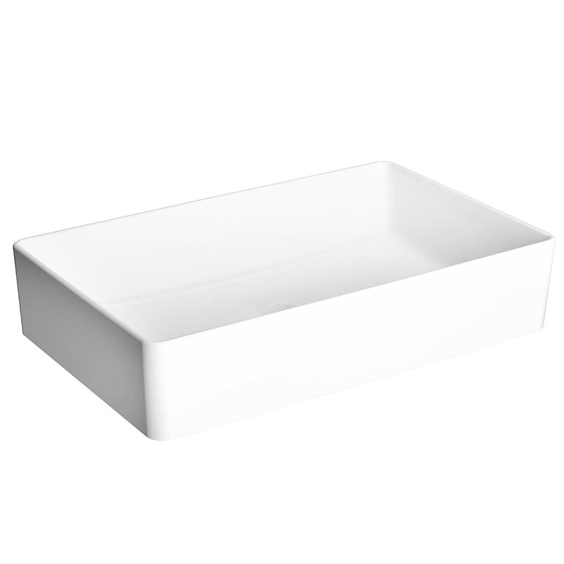 Nuo Aufsatzschale 60 cm, ohne Hahnloch, ohne Überlaufloch, Weiß, mit Oberflächenveredelung VitrA Clean