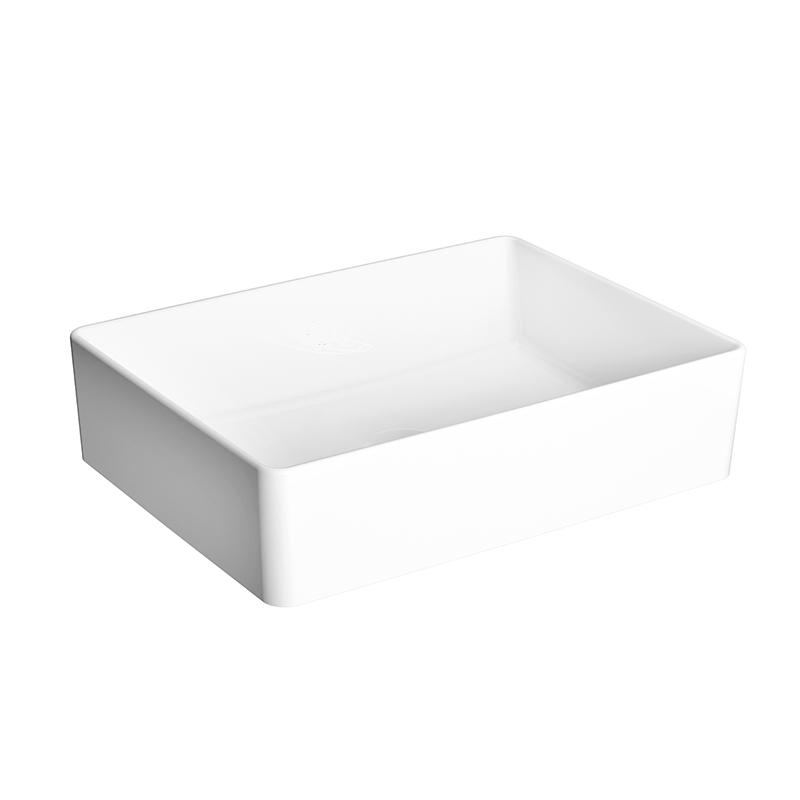 Nuo Aufsatzschale 50 cm, ohne Hahnloch, ohne Überlaufloch, Weiß Hochglanz, mit Oberflächenveredelung VitrA Clean