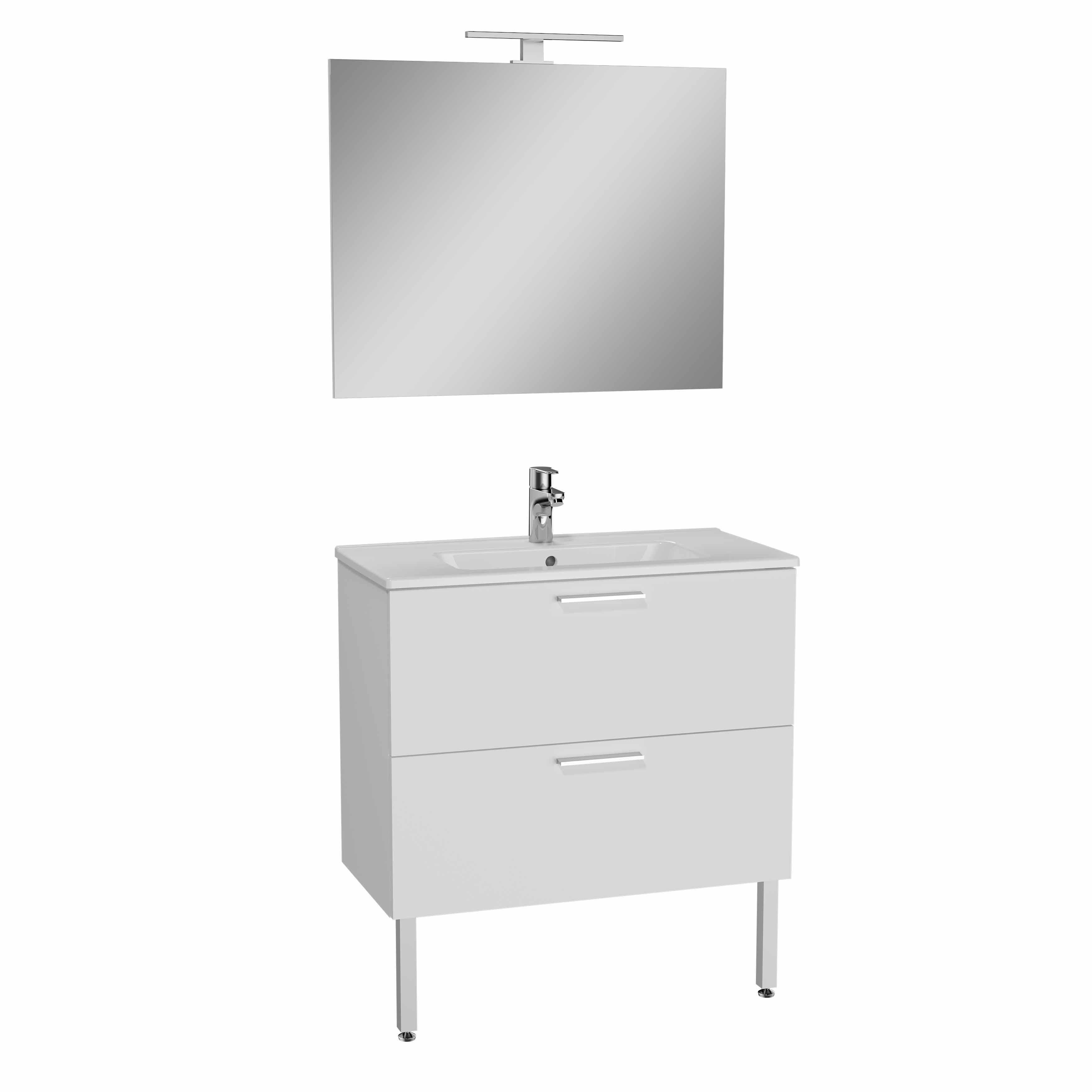 Mia set de meuble, avec 2 tiroirs, 80 cm, blanc