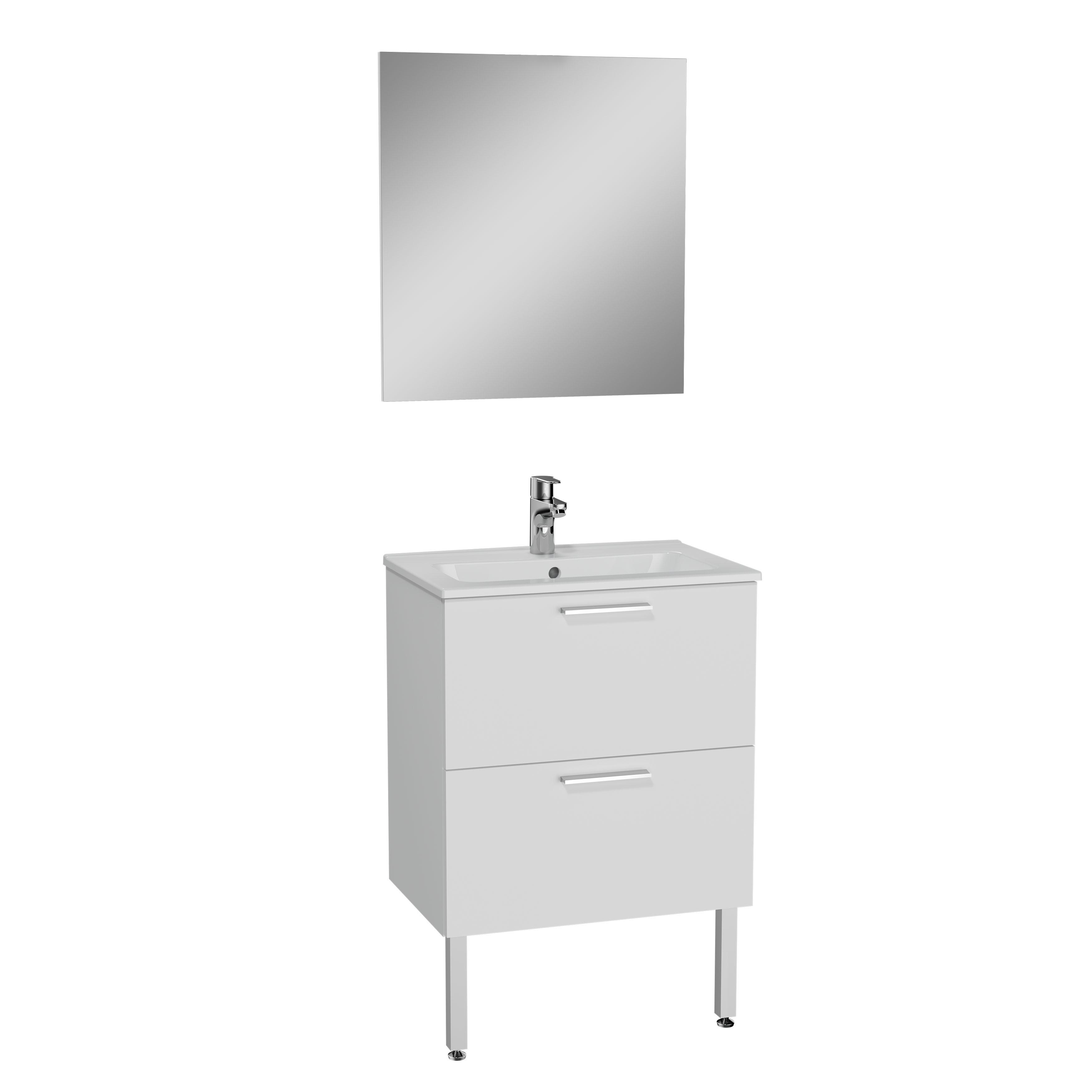 Mia set de meuble avec 2 tiroirs, avec mitigeur lavabo, 60 cm, blanc