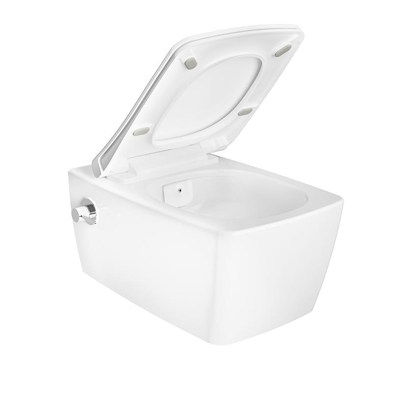 Aquacare Wand-WC-Set Metropole, mit Bidetfunktion, mit integrierter Armatur, Weiß Hochglanz