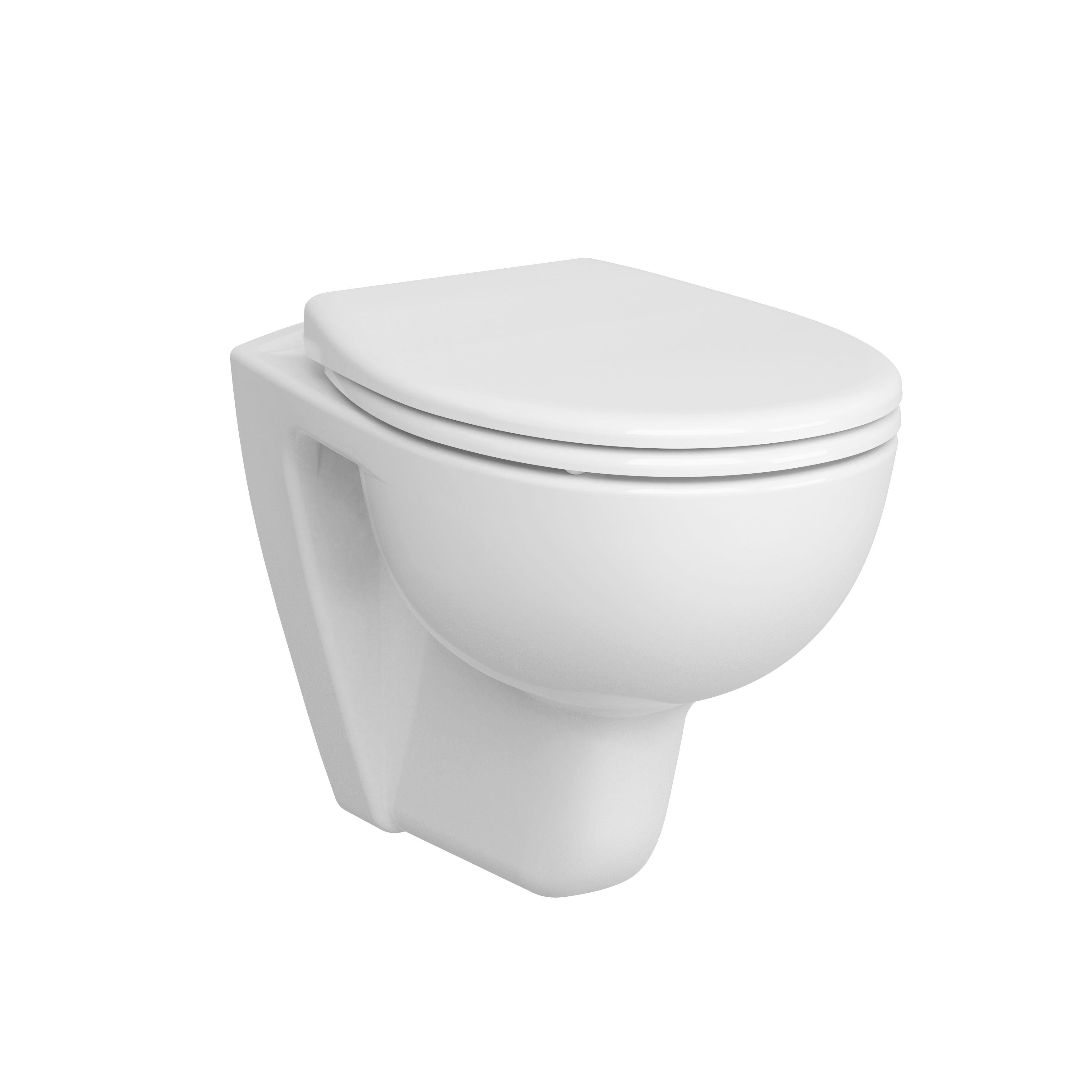 Conforma WC à poser PMR sans bride, sortie horizontale, avec trou d'abattant, blanc