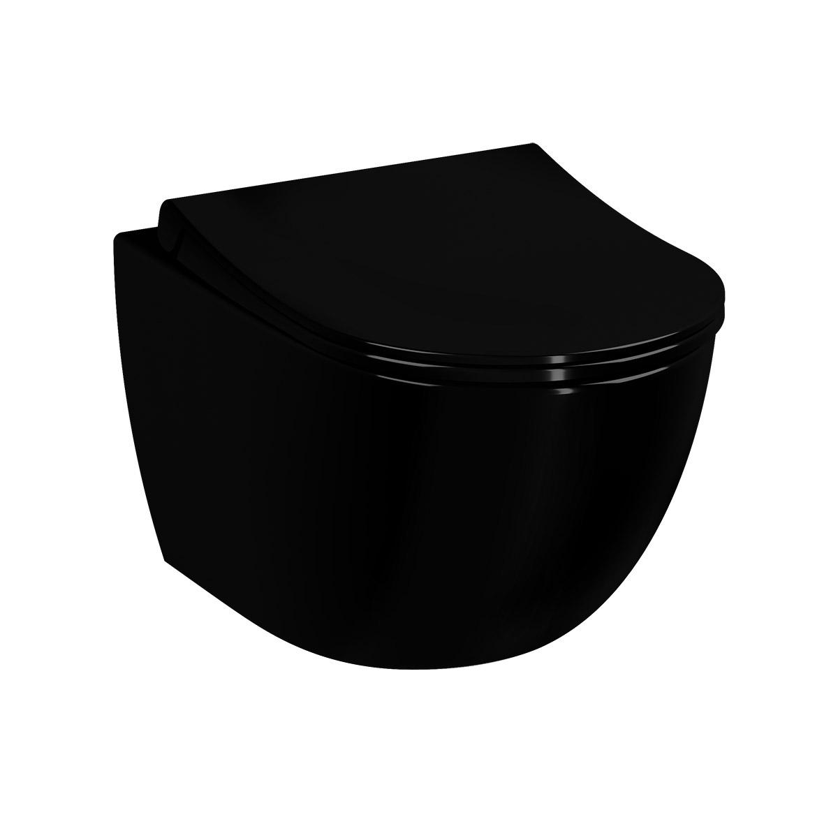 Sento Wand-WC VitrA Flush 2.0 mit Bidetfunktion, Schwarz Hochglanz