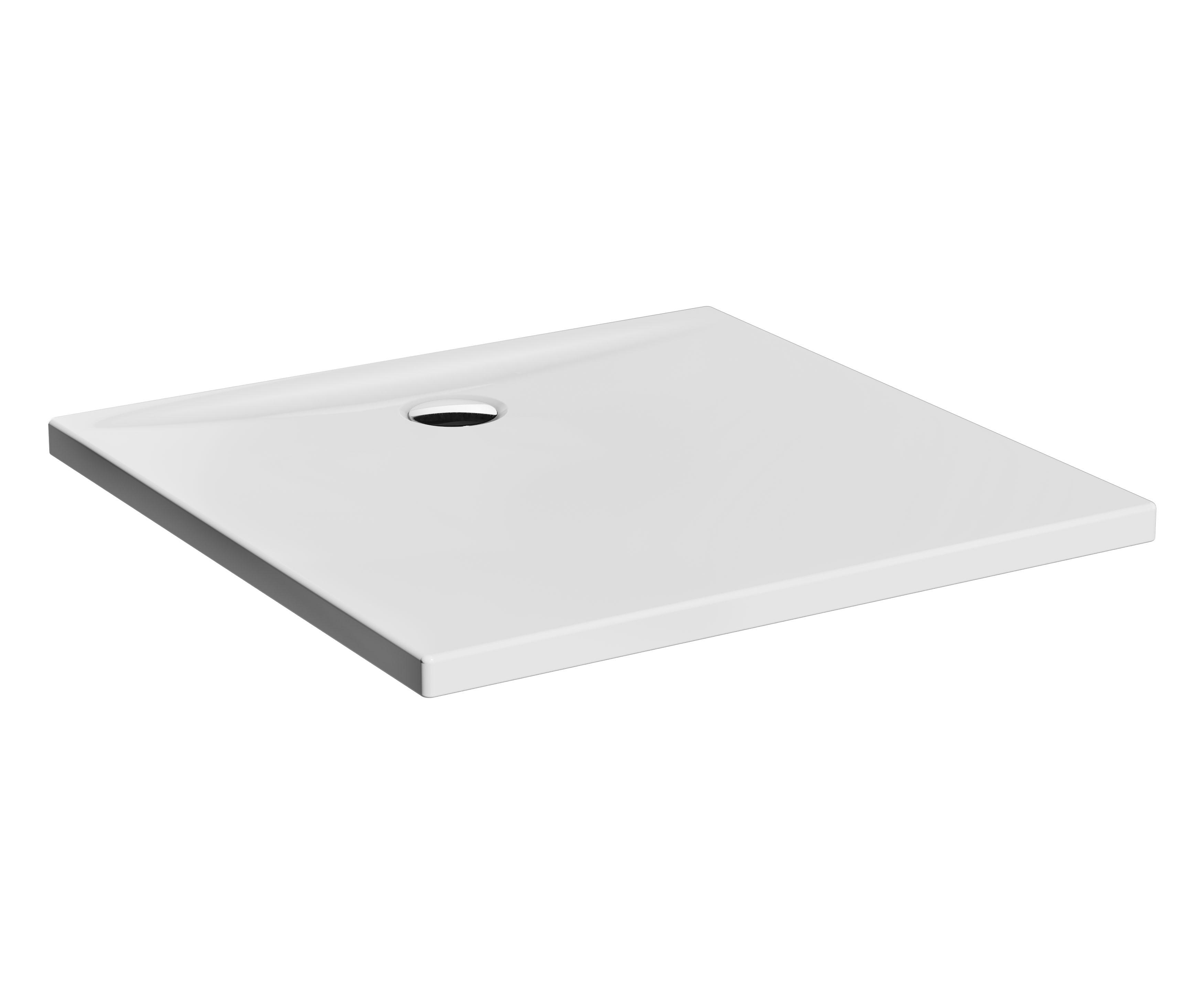 Lagoon receveur ultra plat en céramique, 90 cm, carré, blanc haute brillance