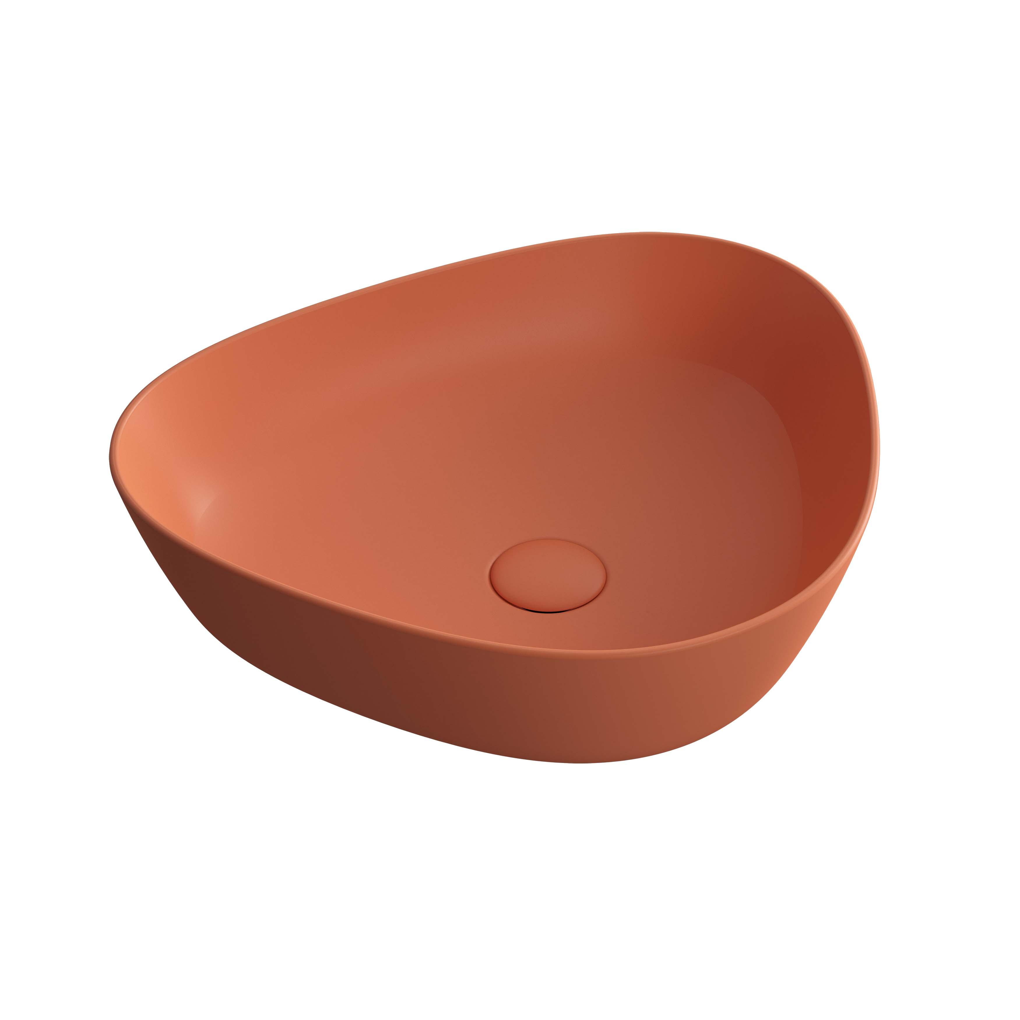 Plural vasque asymétrique, terre rouge mat