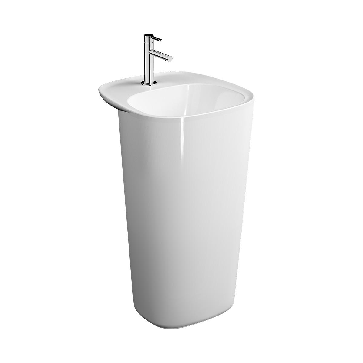Plural Monoblock Waschtisch mit Überlaufloch, Weiß Hochglanz