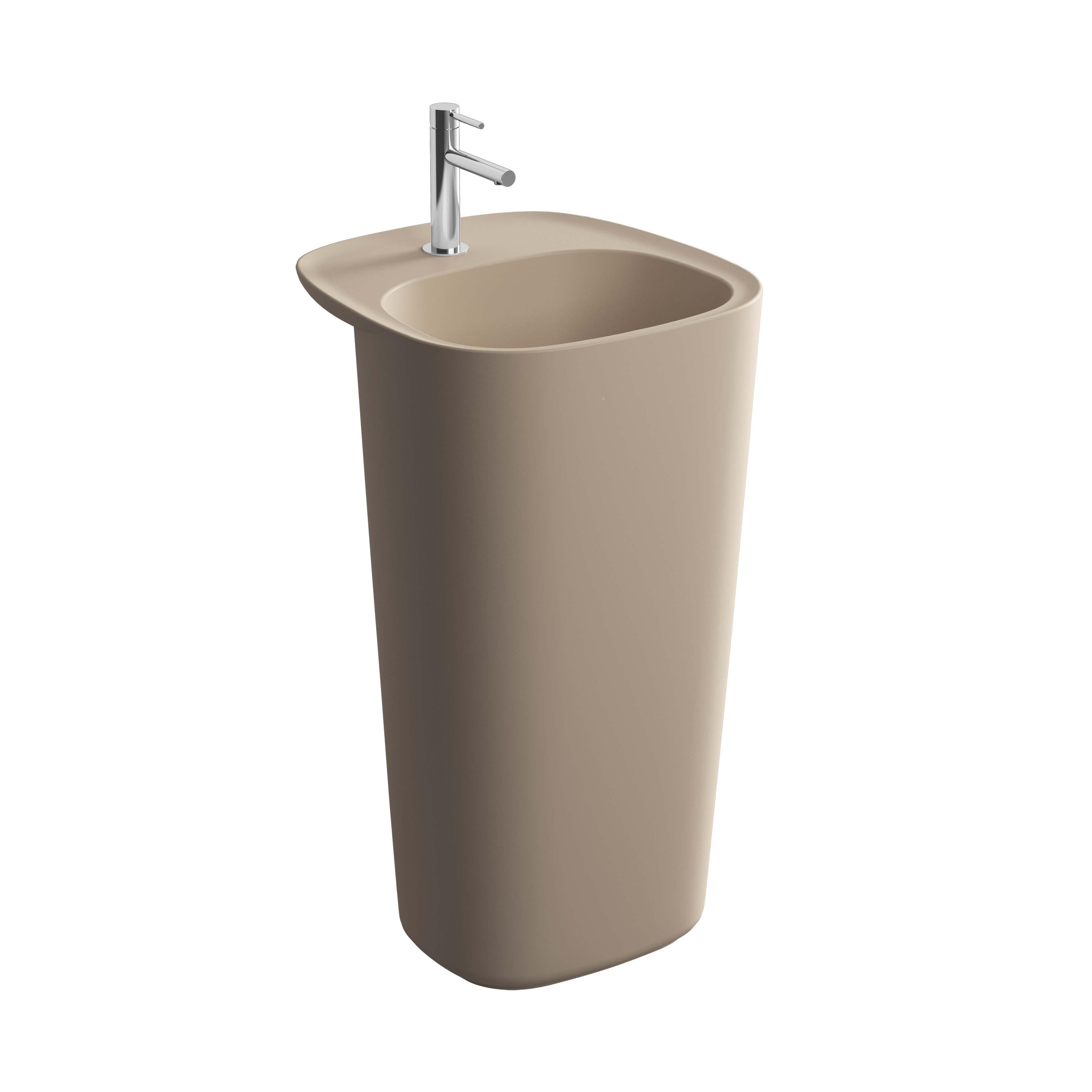 Plural lavabo monobloc, sans trop-plein, argile mat
