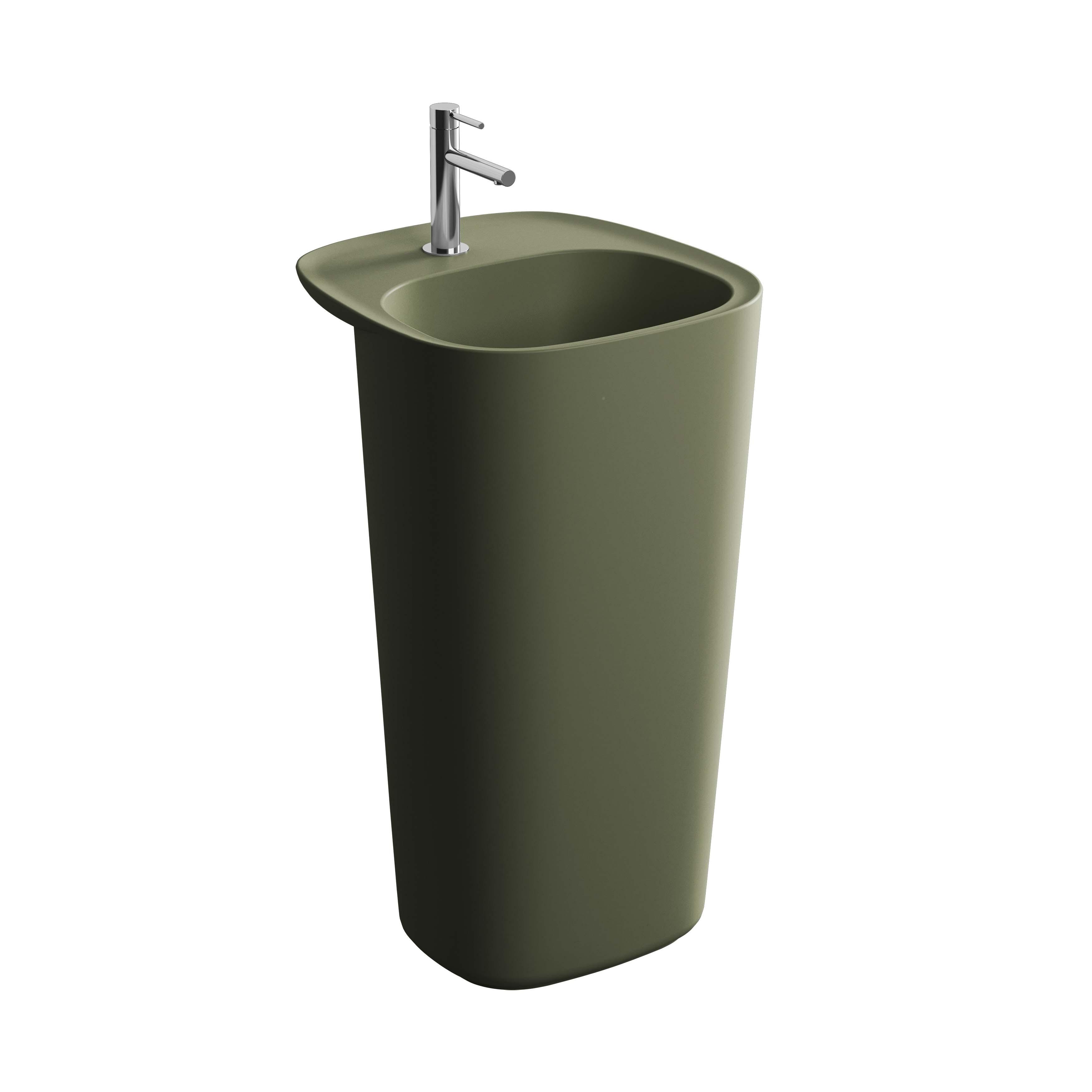 Plural lavabo monobloc, sans trop-plein, vert mousse mat