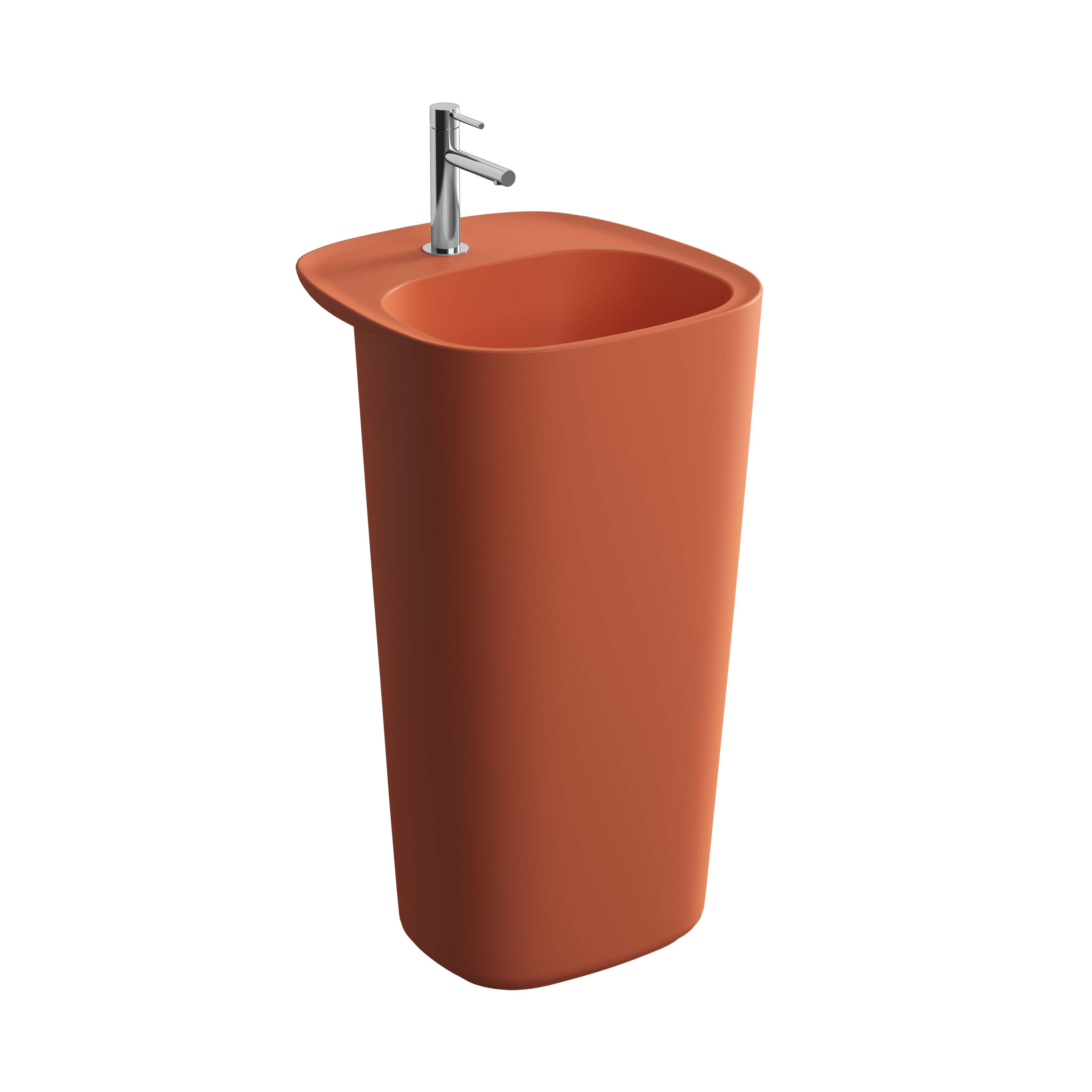 Plural lavabo monobloc, sans trop-plein, terre rouge mat