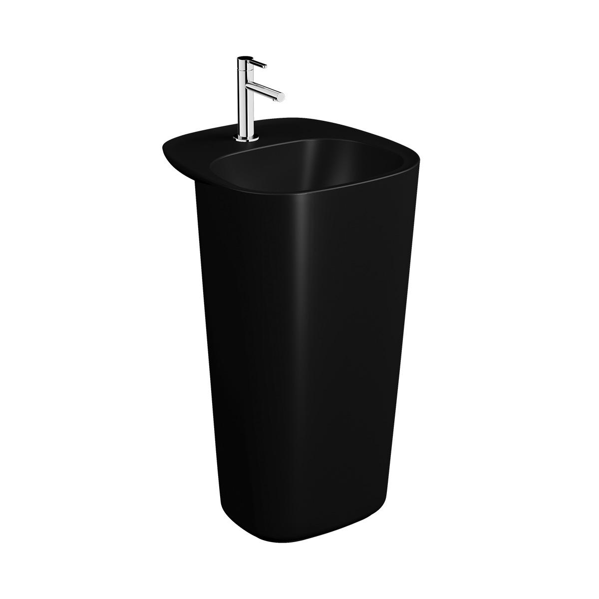 Plural Monoblock Waschtisch mit Überlaufloch, Schwarz Matt
