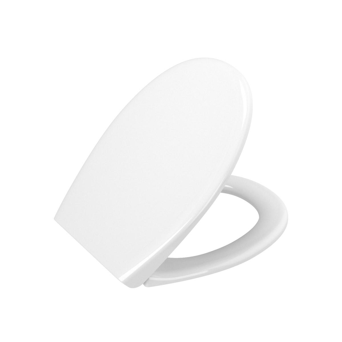 S20 WC-Sitz Universal, zu runden spülrandlosen WCs ohne Absenkautomatik, Weiß Hochglanz